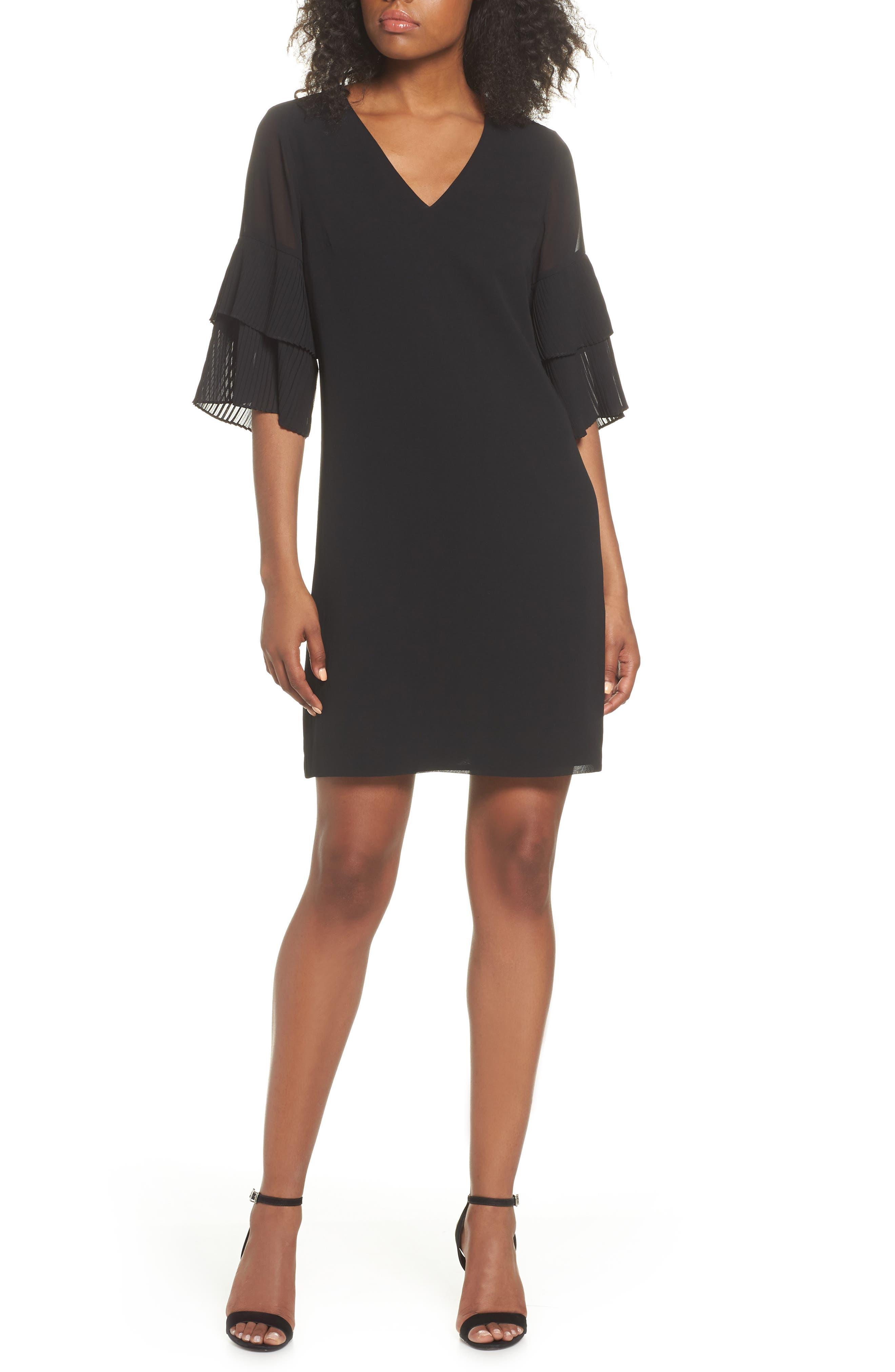 Pleat Sleeve Shift Dress,                         Main,                         color, 001