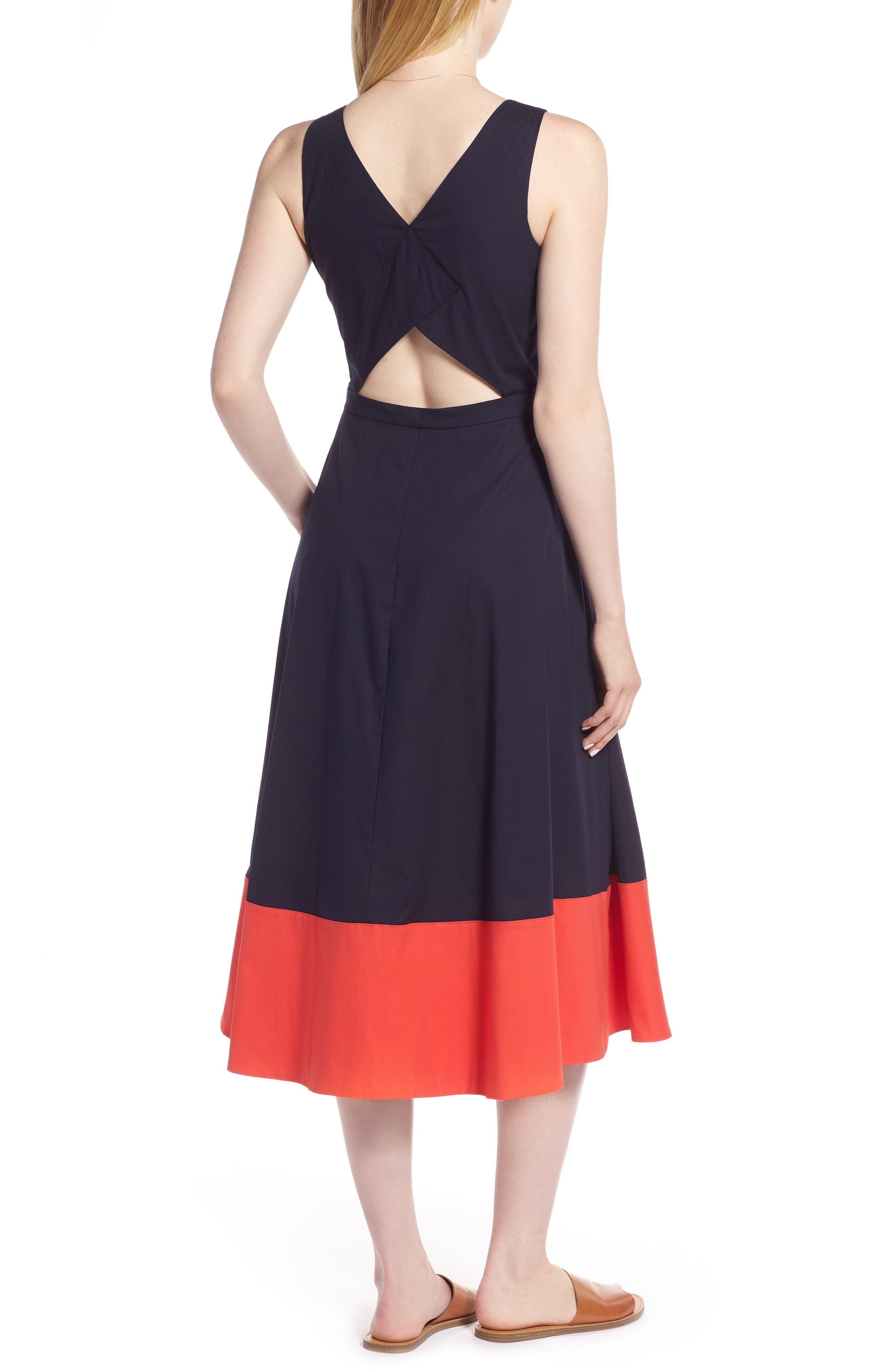 Colorblock Cotton Midi Dress,                             Alternate thumbnail 3, color,                             410