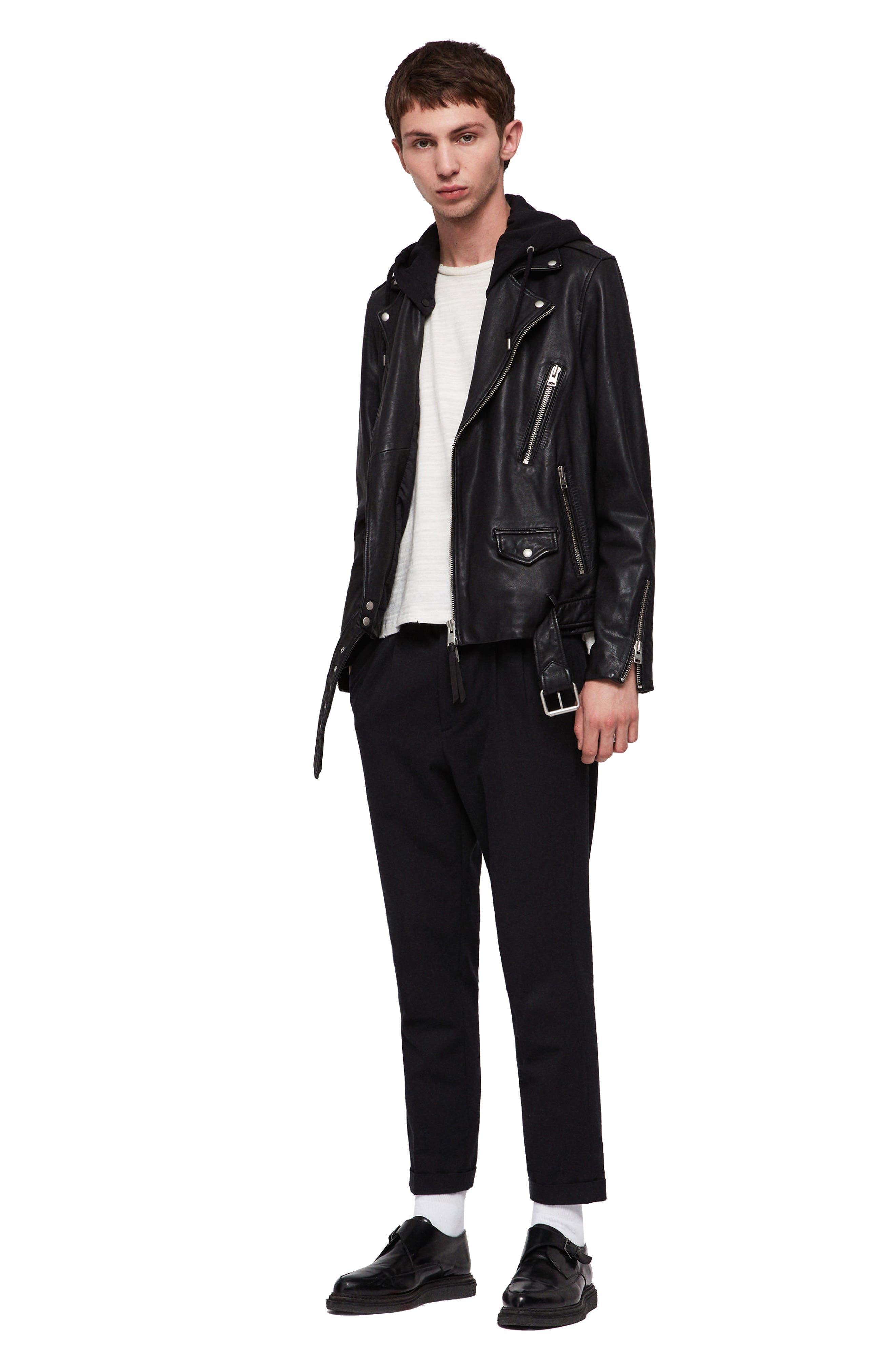 Renzo Slim Fit Leather Biker Jacket,                             Alternate thumbnail 5, color,                             BLACK