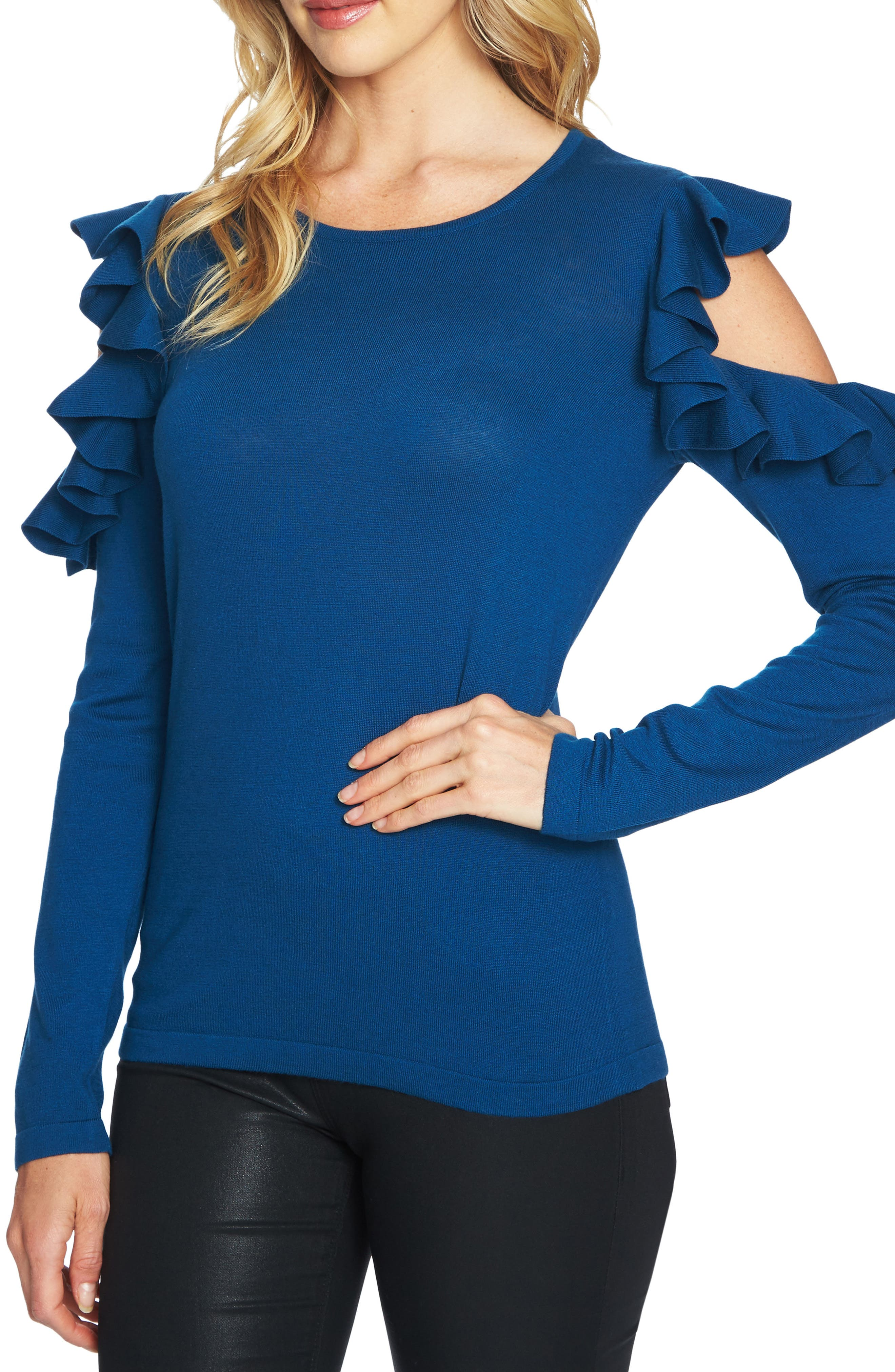 Ruffled Cold Shoulder Sweater,                             Main thumbnail 3, color,