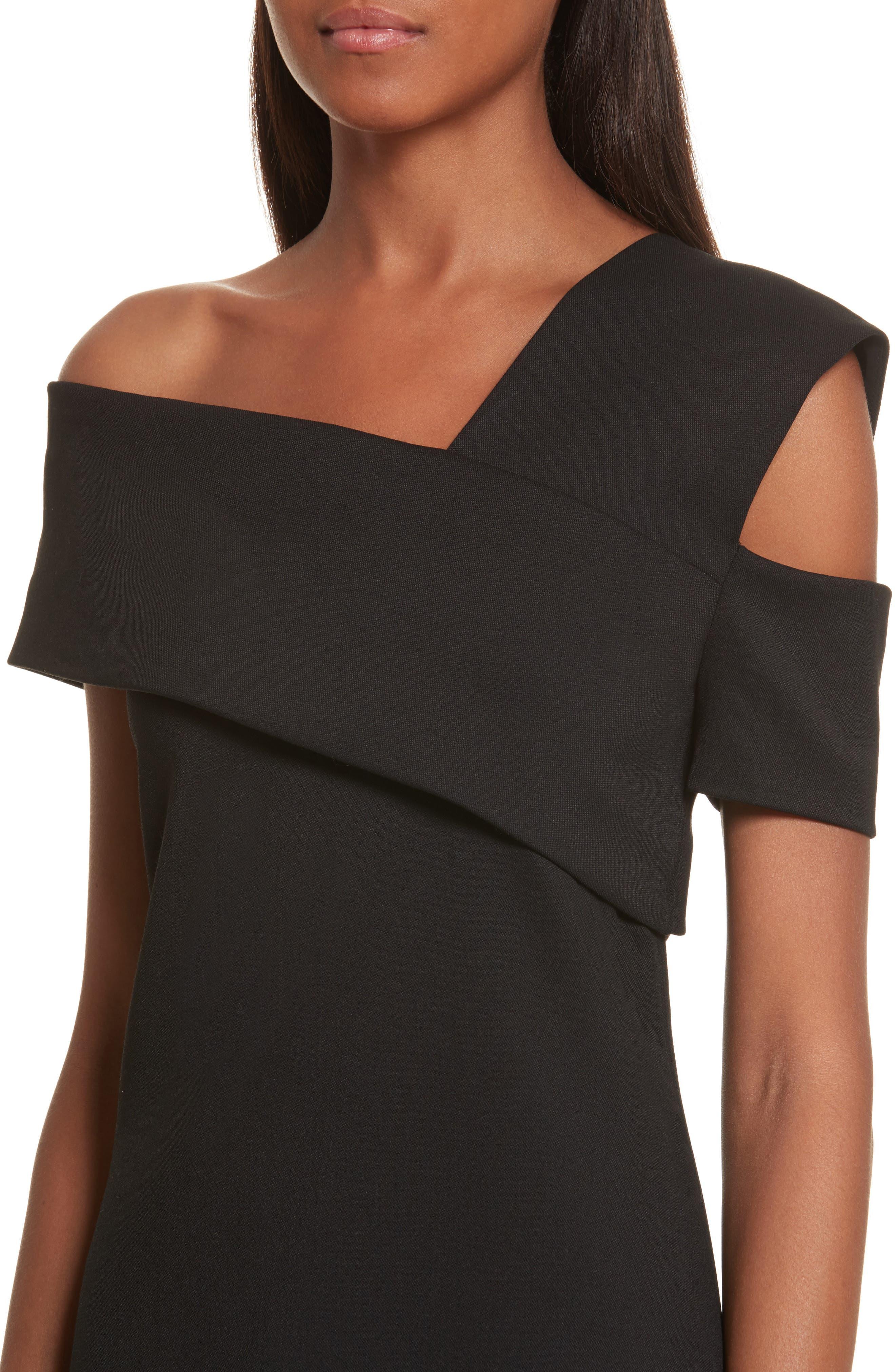 Asymmetrical Off the Shoulder Scuba Dress,                             Alternate thumbnail 4, color,                             001