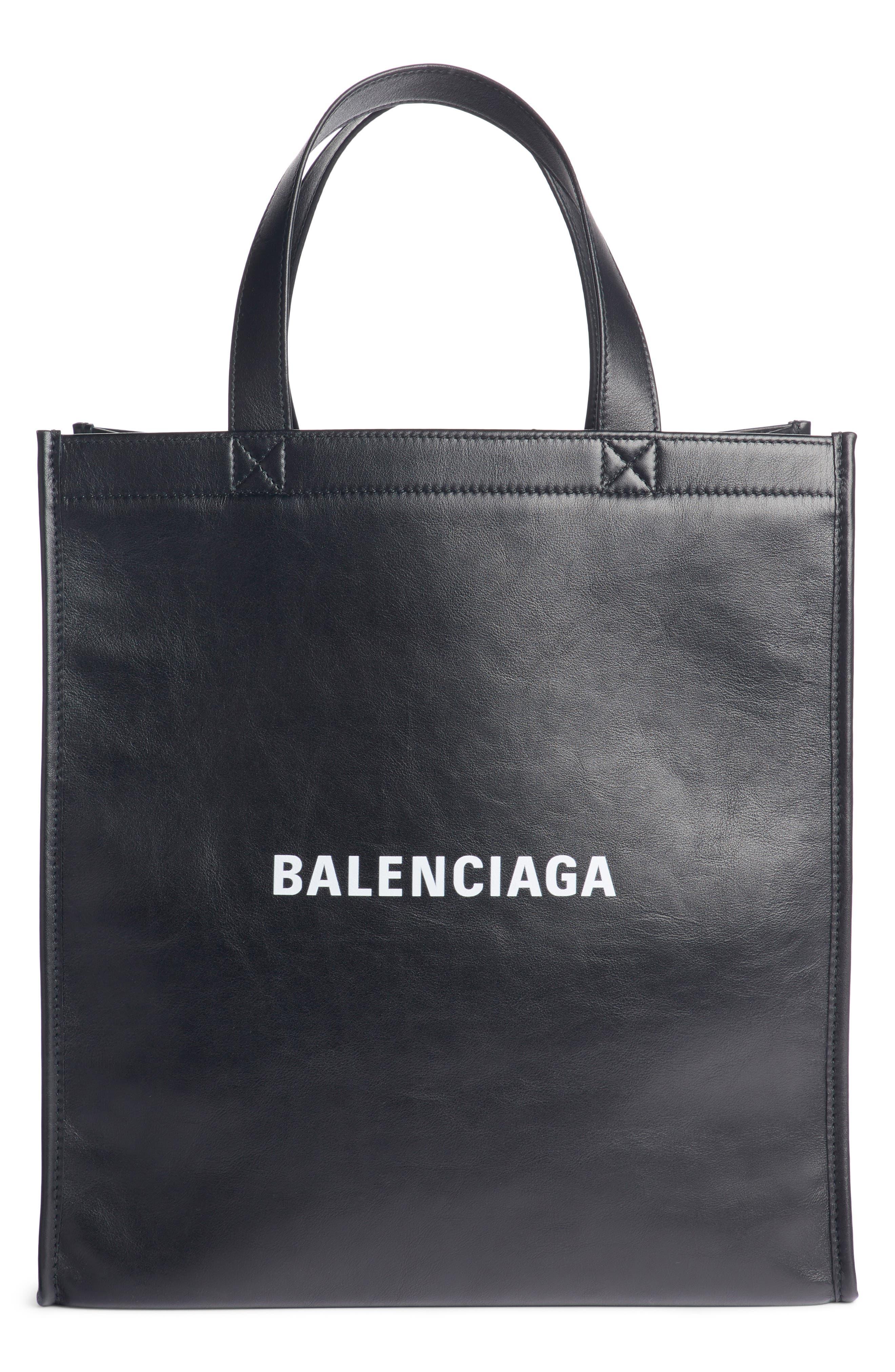 Balengciaga Logo Market Leather Shopper,                         Main,                         color, NOIR/ BLANC
