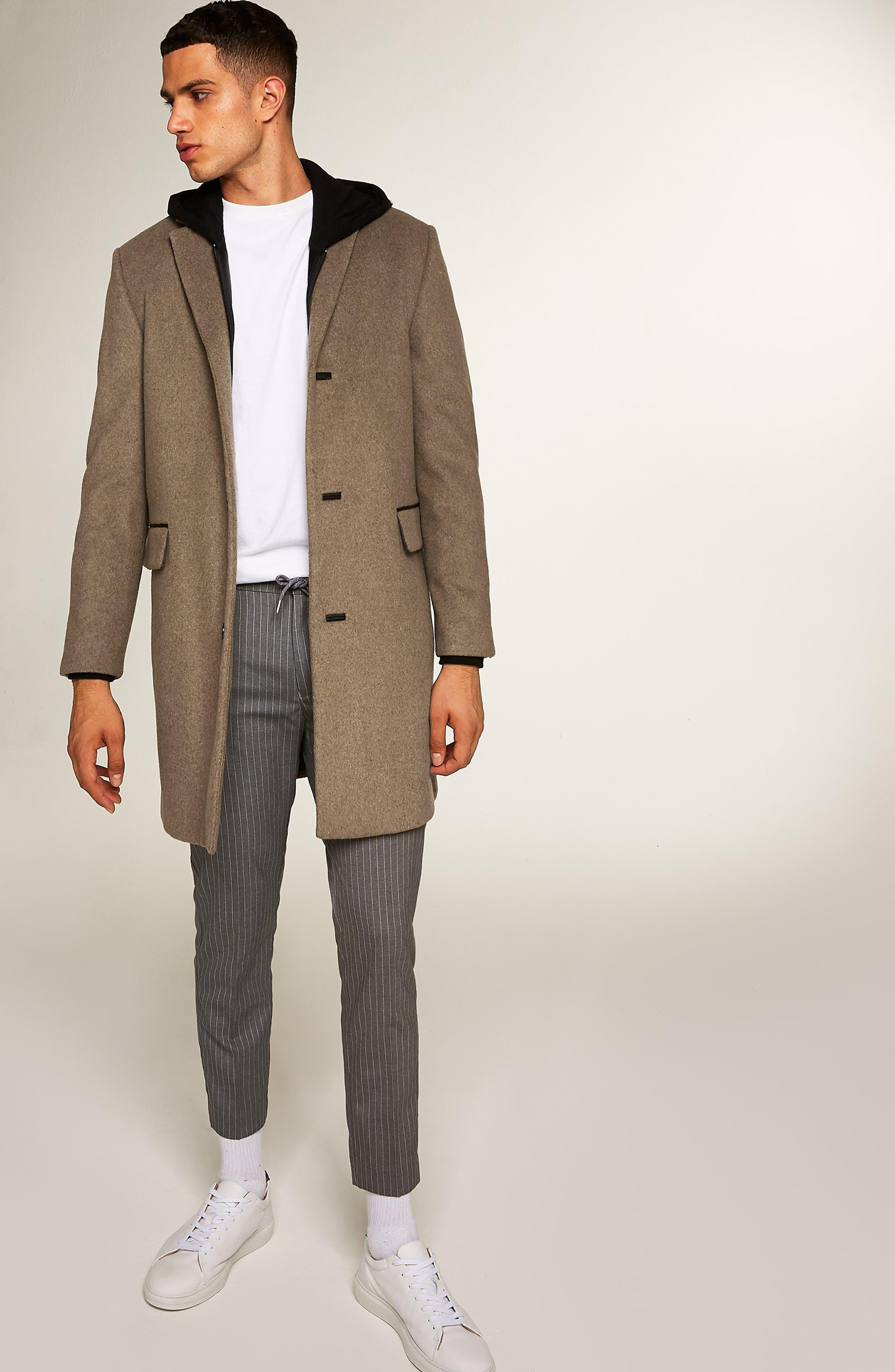 Wool Blend Overcoat,                             Alternate thumbnail 6, color,                             LIGHT BROWN
