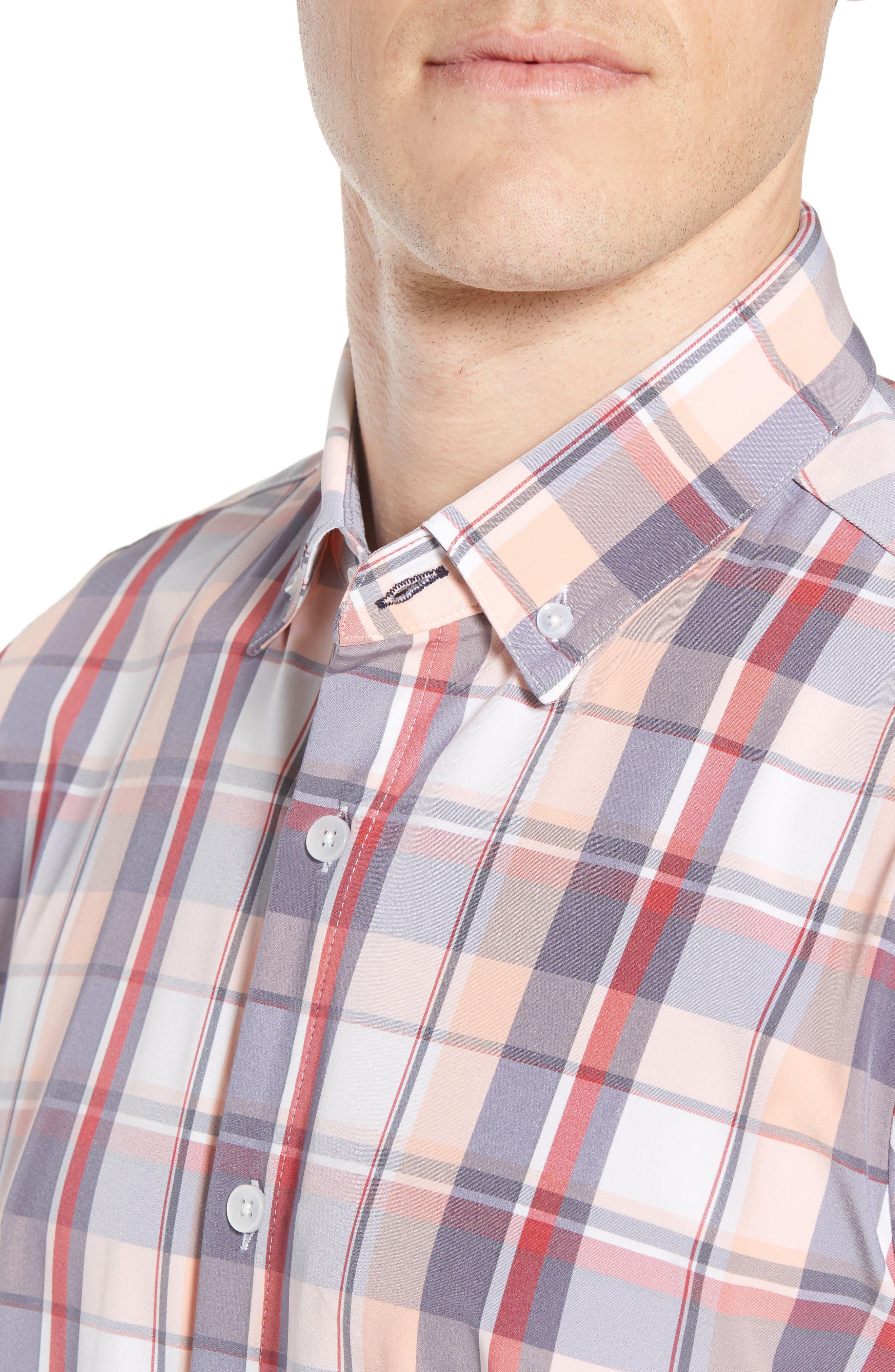 Brazos Slim Fit Madras Plaid Performance Sport Shirt,                             Alternate thumbnail 4, color,                             PEACH