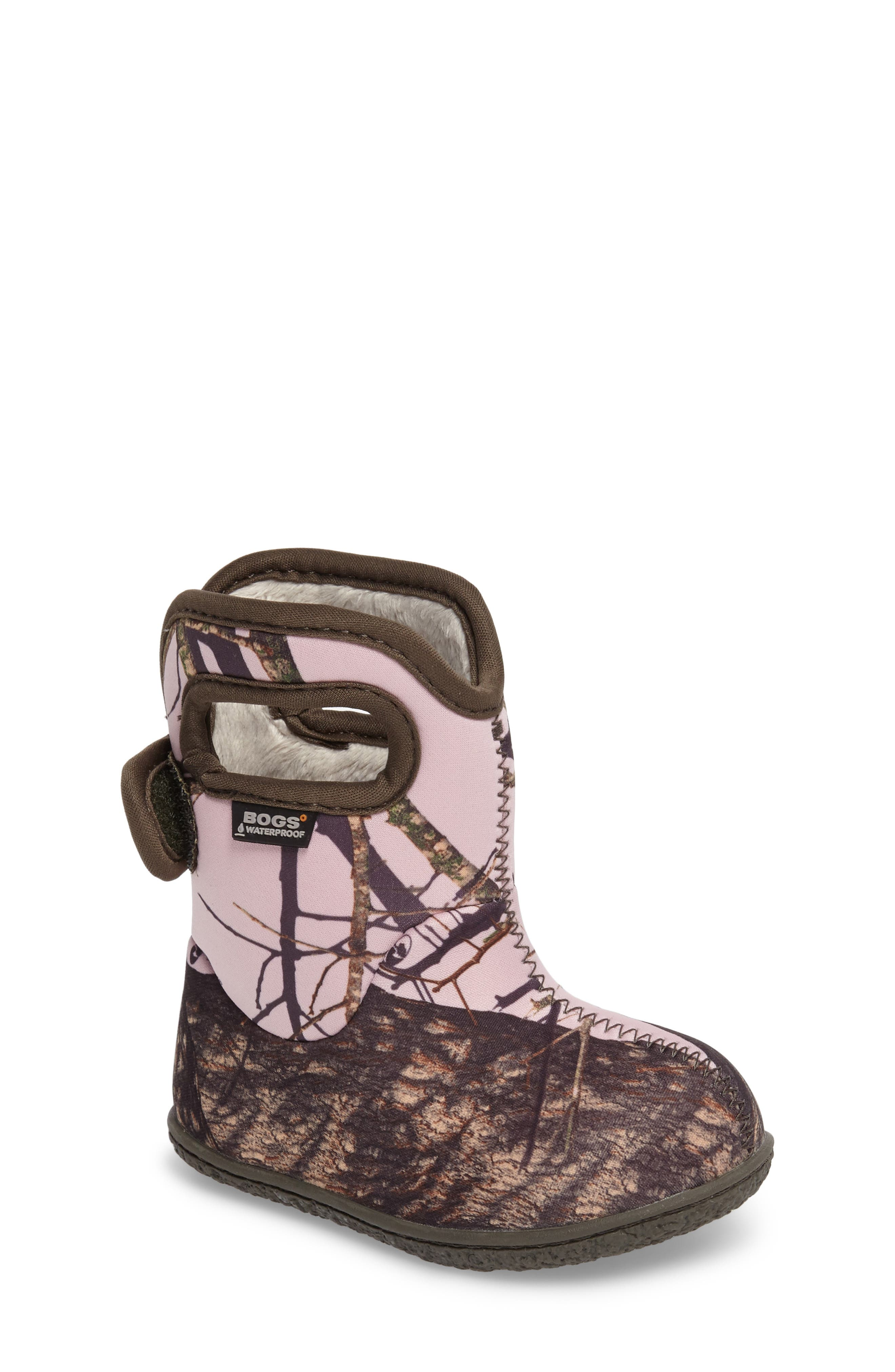 Baby Bogs Classic Camo Insulated Waterproof Boot,                             Main thumbnail 1, color,                             PINK MOSSY OAK COUNTRY