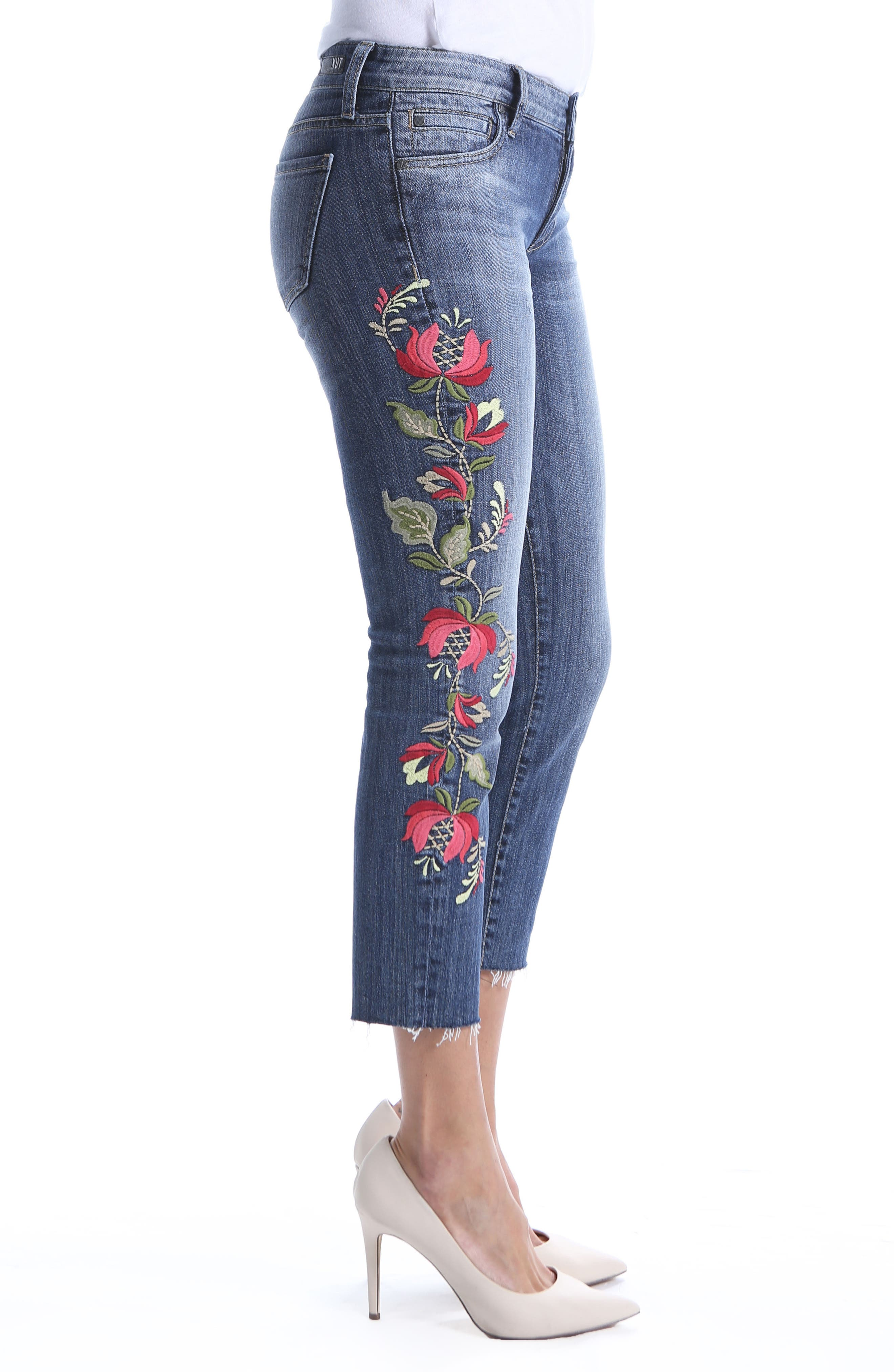 Reese Embroidered Straight Leg Raw Hem Jeans,                             Alternate thumbnail 3, color,