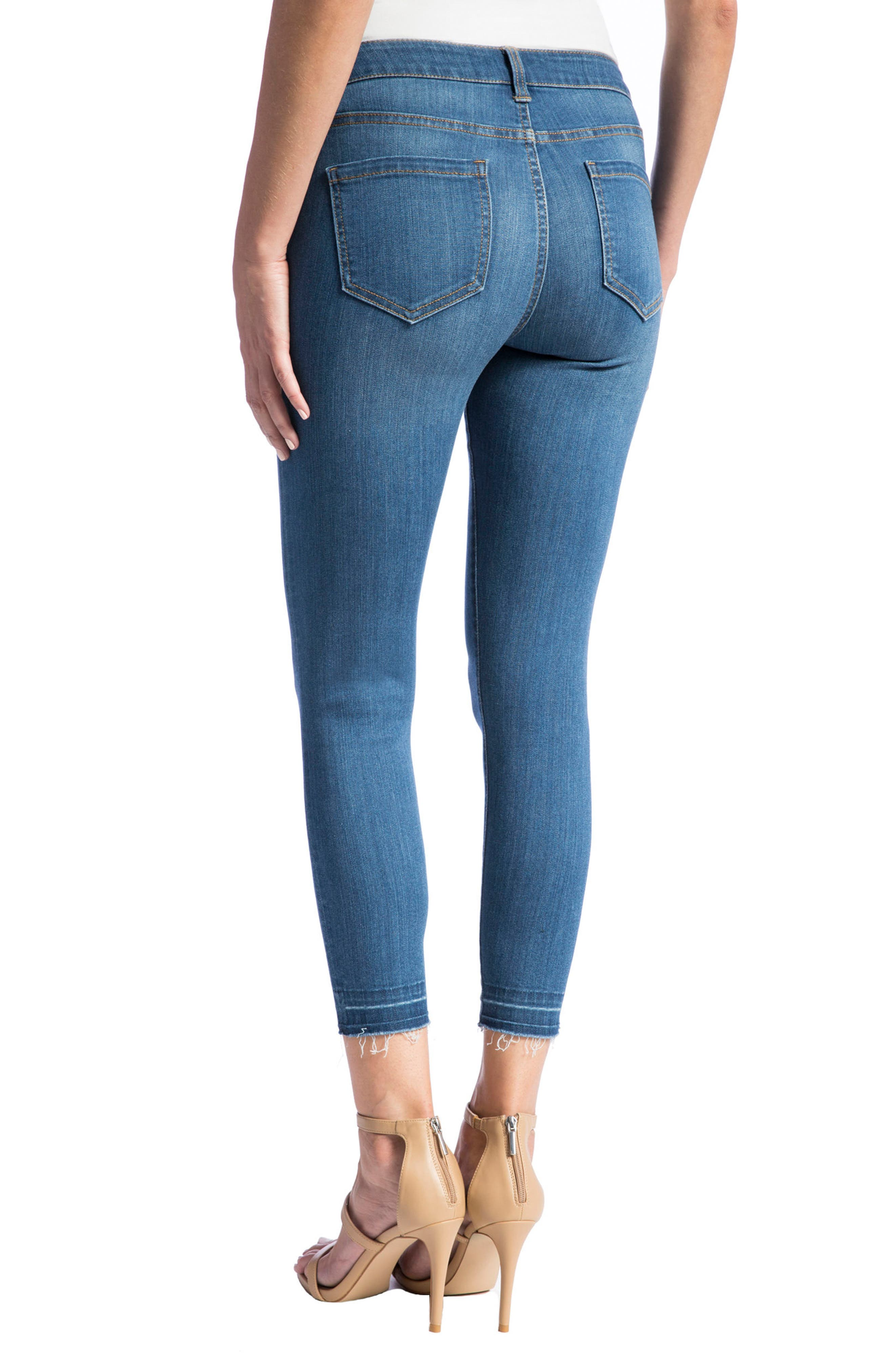 Avery High Rise Release Hem Stretch Crop Skinny Jeans,                             Alternate thumbnail 4, color,                             401