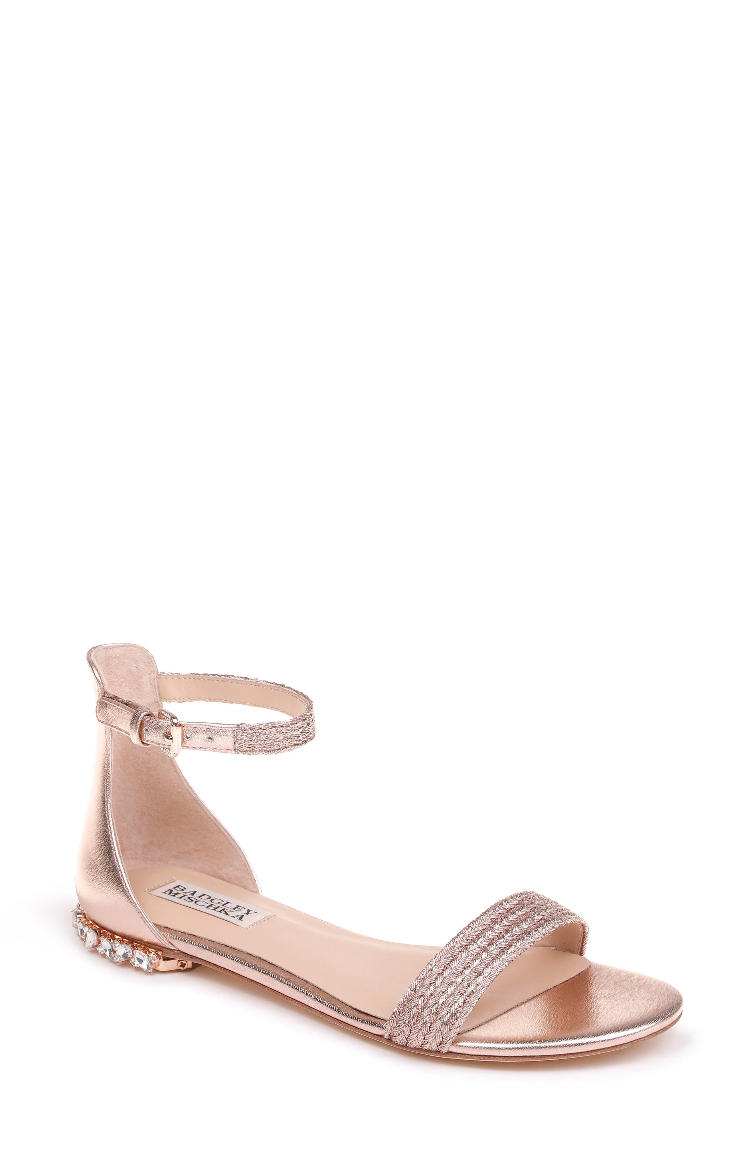 Steffie Ankle Strap Sandal,                         Main,                         color, ROSE GOLD LEATHER