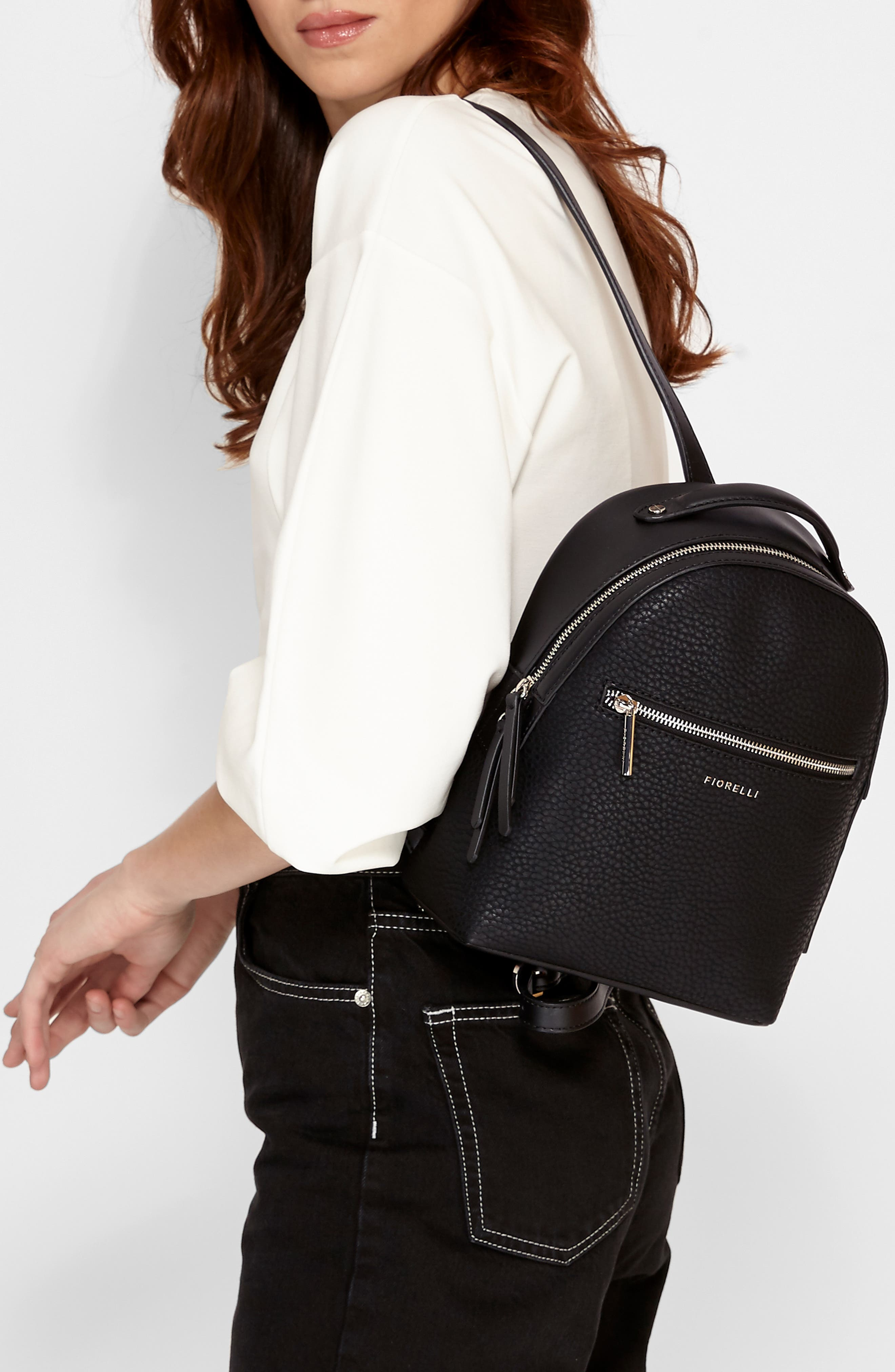 Small Anouk Faux Leather Backpack,                             Alternate thumbnail 2, color,                             BLACK