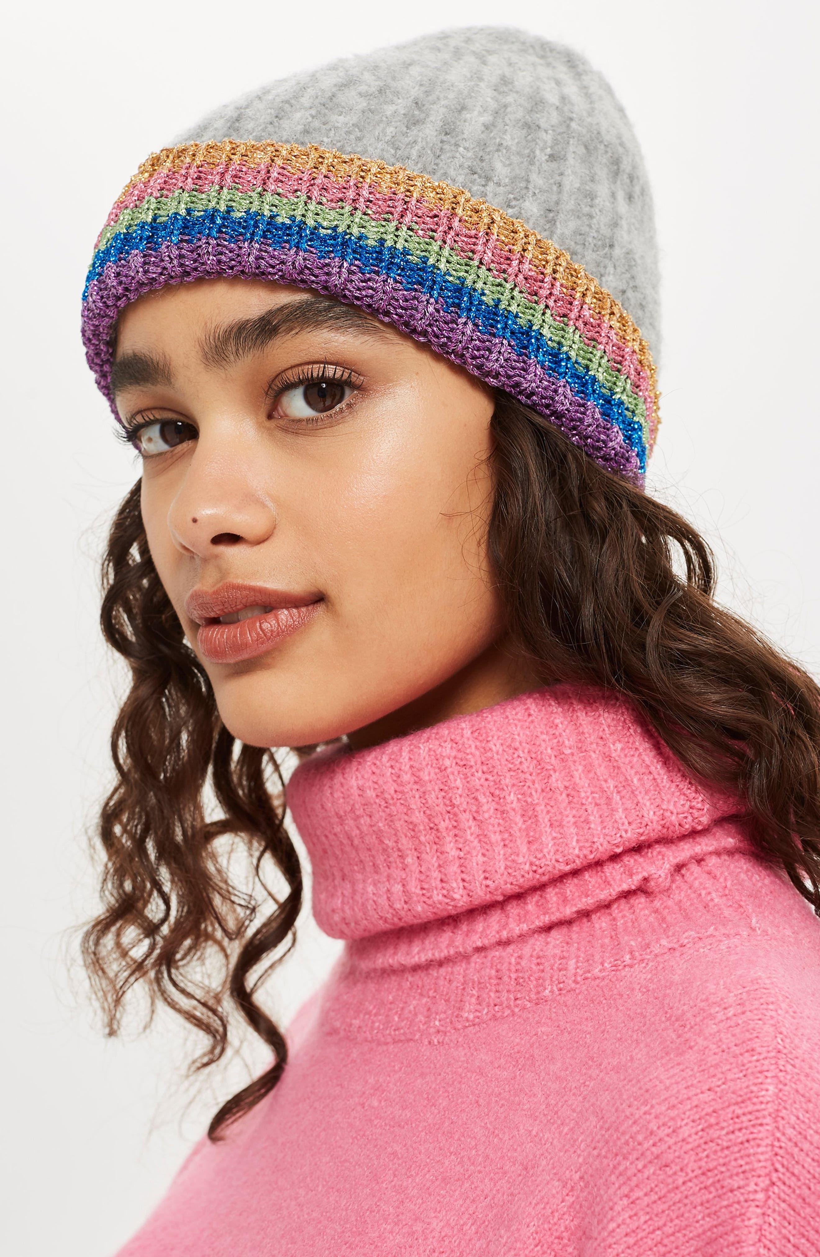 Rainbow Beanie Hat,                             Alternate thumbnail 3, color,                             GREY
