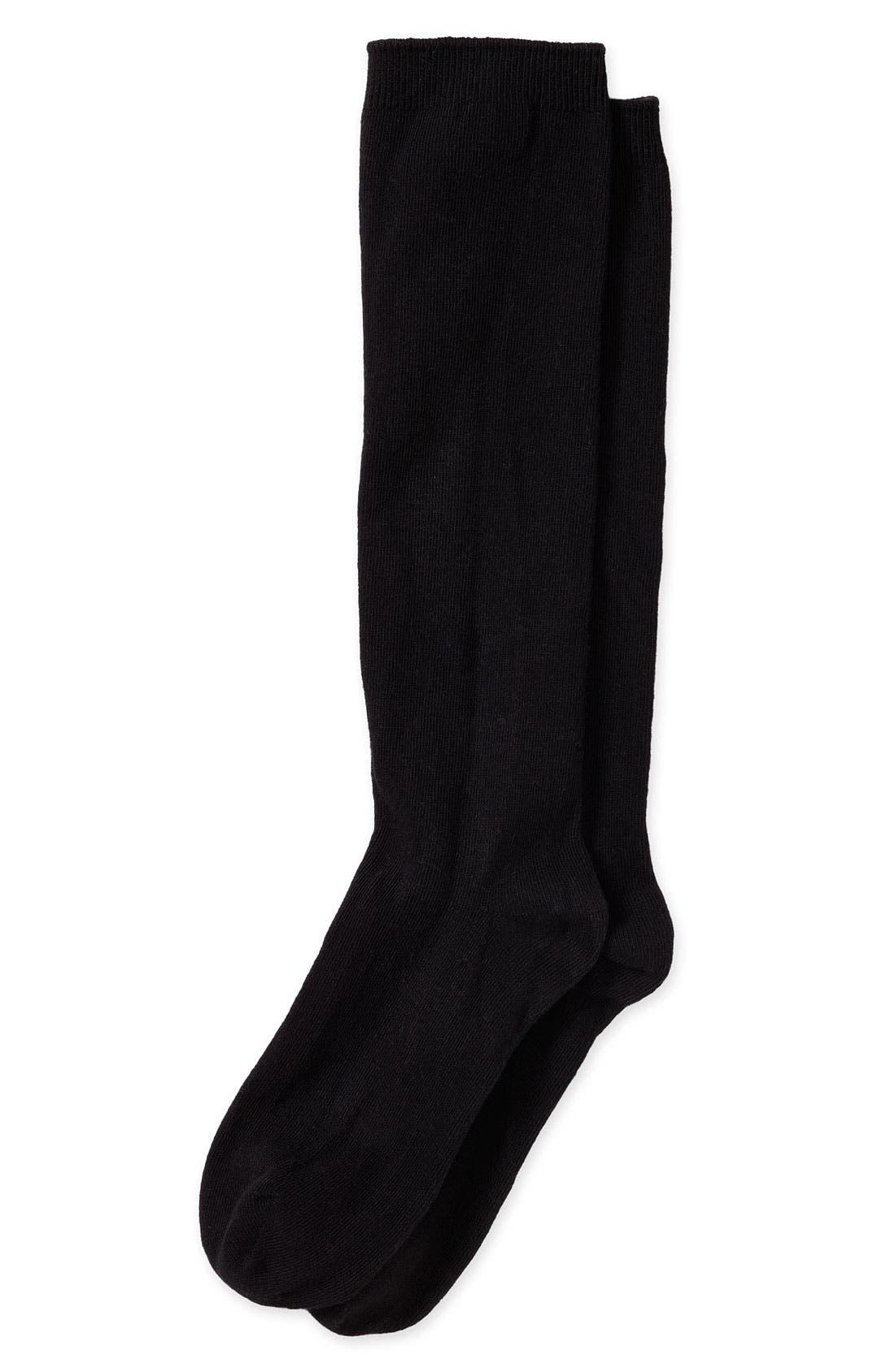 NORDSTROM,                             Knee High Socks,                             Main thumbnail 1, color,                             001