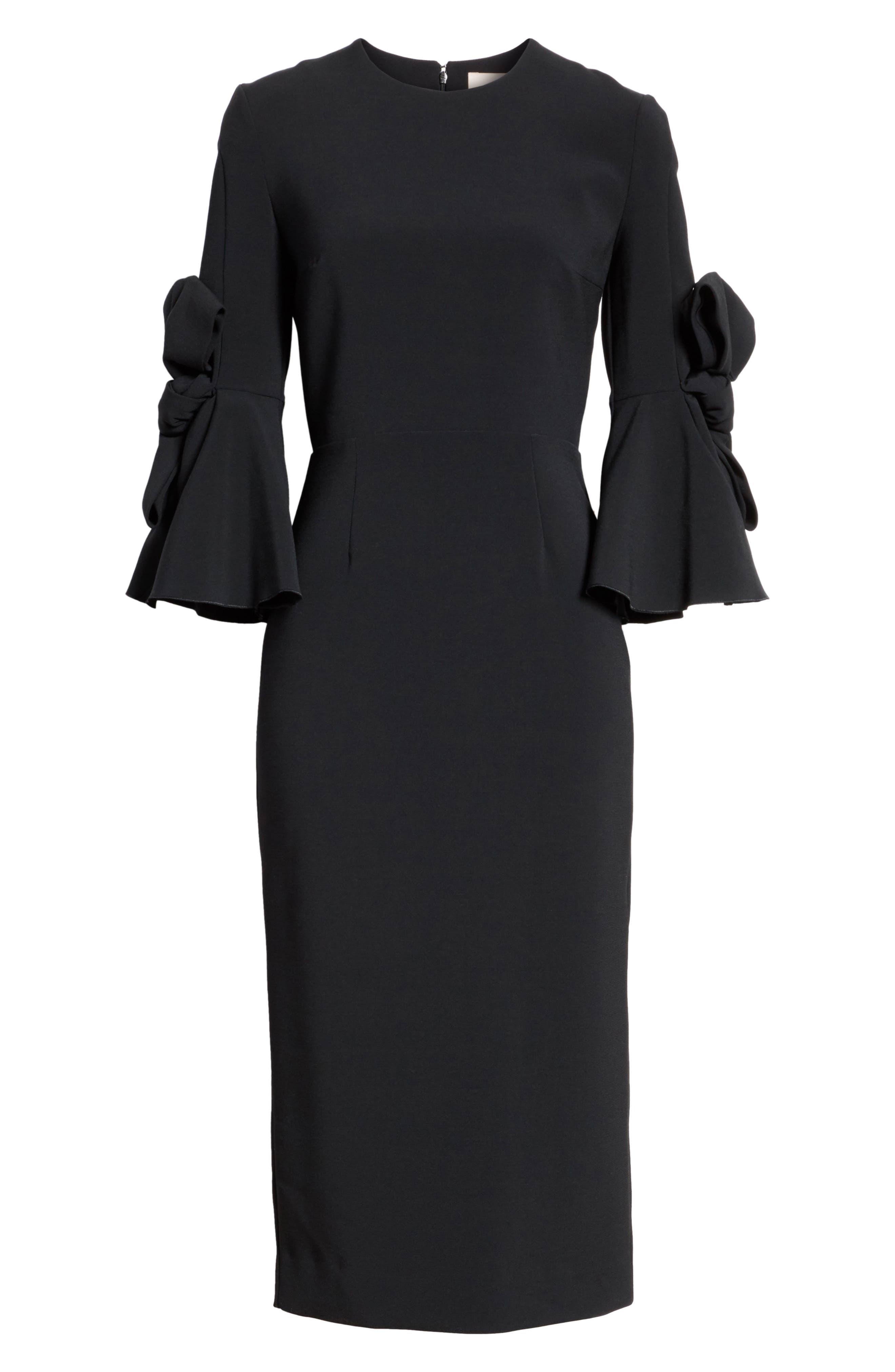Lavete Stretch Crepe Midi Dress,                             Alternate thumbnail 7, color,                             BLACK