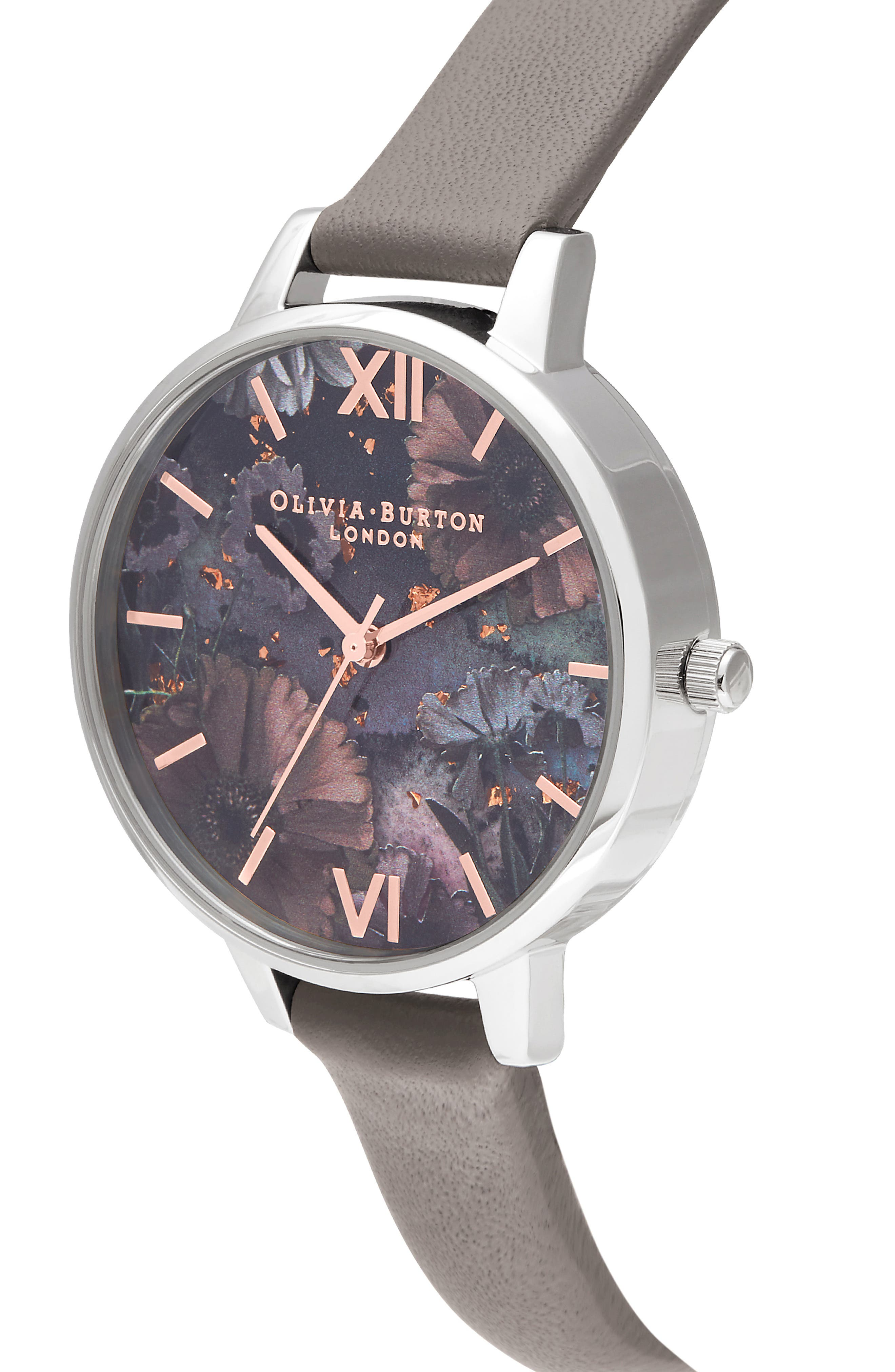 Celestial Leather Strap Watch, 34mm,                             Alternate thumbnail 4, color,                             LOND GREY/ FLORAL GLIT/SILVER