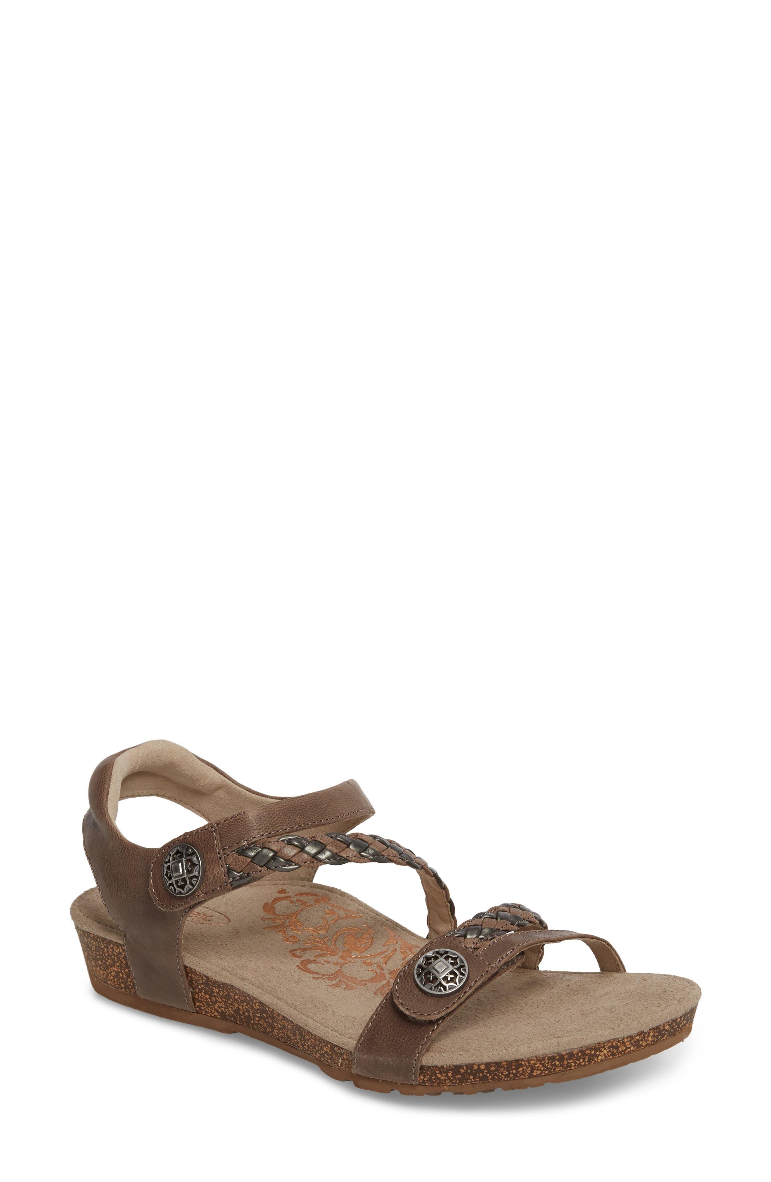 'Jillian' Braided Leather Strap Sandal,                             Main thumbnail 1, color,                             GREY LEATHER