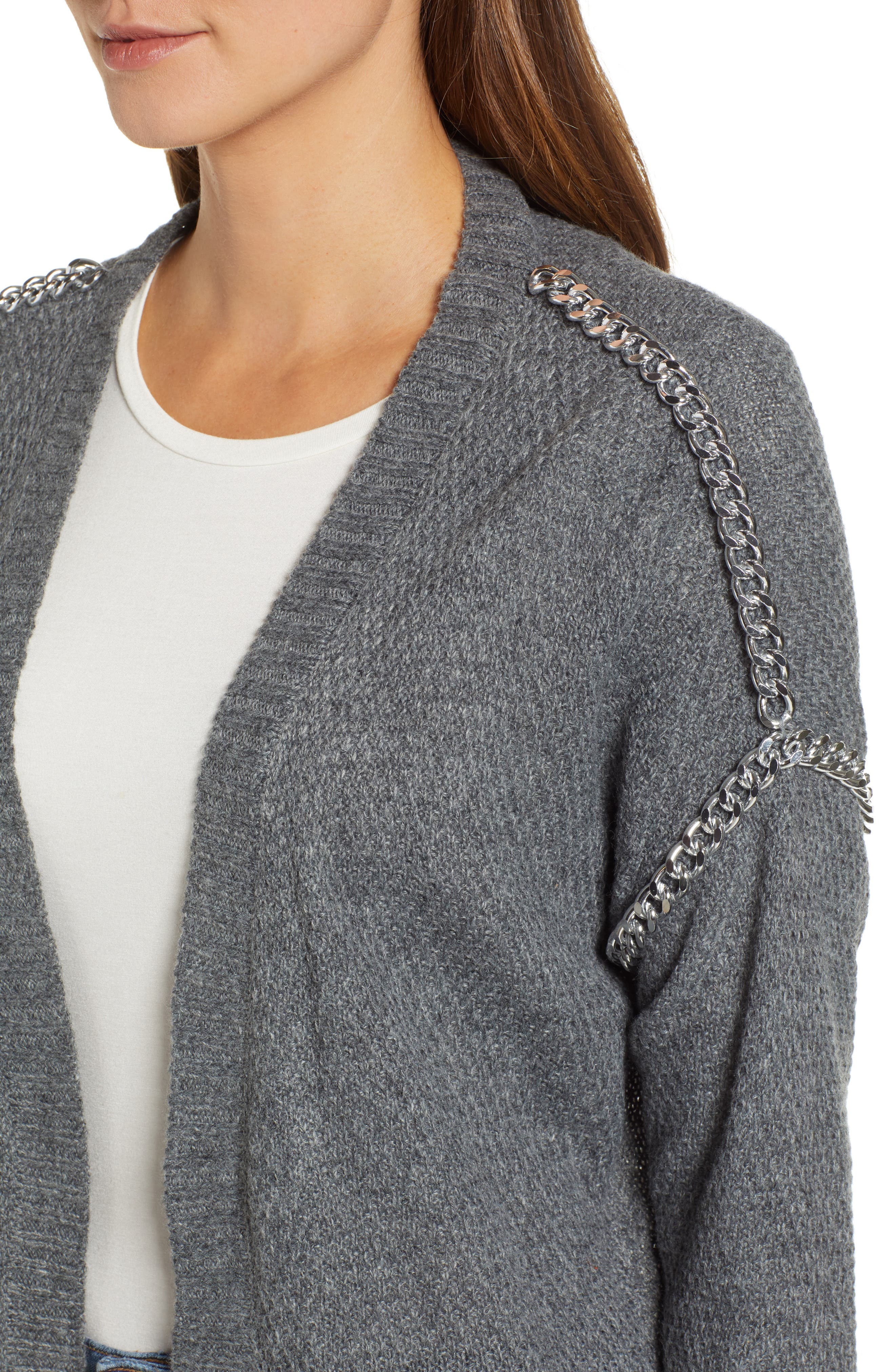 Chain Trim Cardigan,                             Alternate thumbnail 4, color,                             CHARCOAL