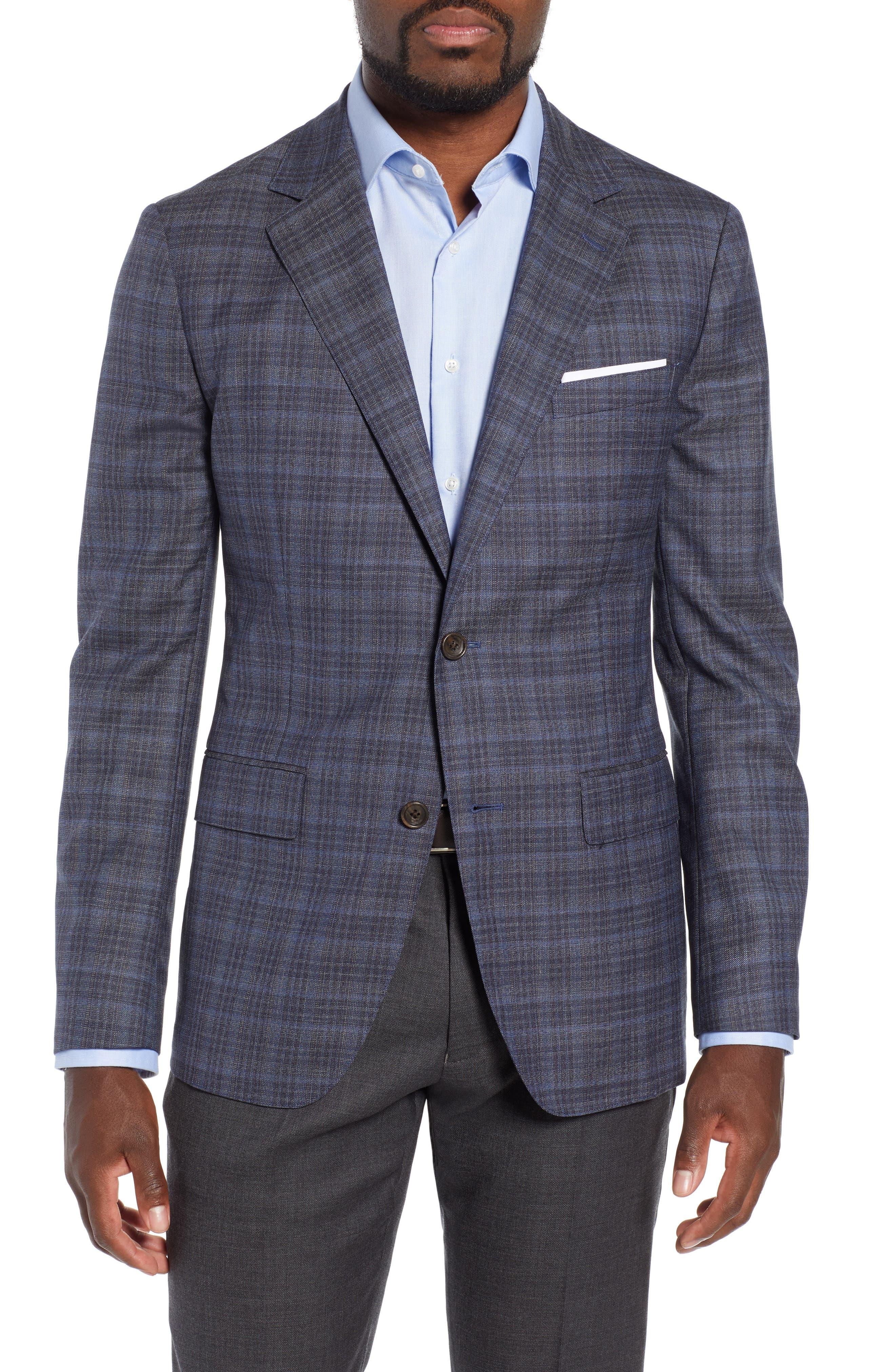 Slim Fit Unconstructed Plaid Blazer,                         Main,                         color, GREY PLAID