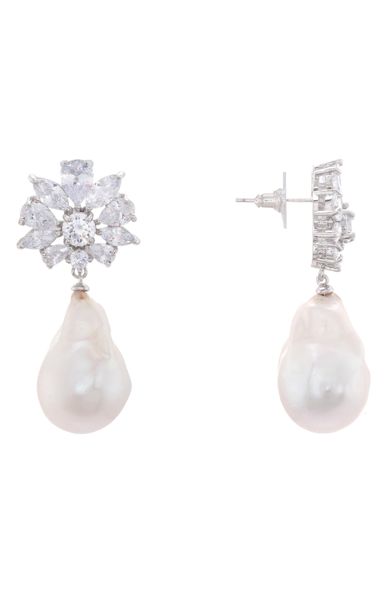 NINA,                             Baroque Freshwater Pearl Cluster Earrings,                             Main thumbnail 1, color,                             SILVER