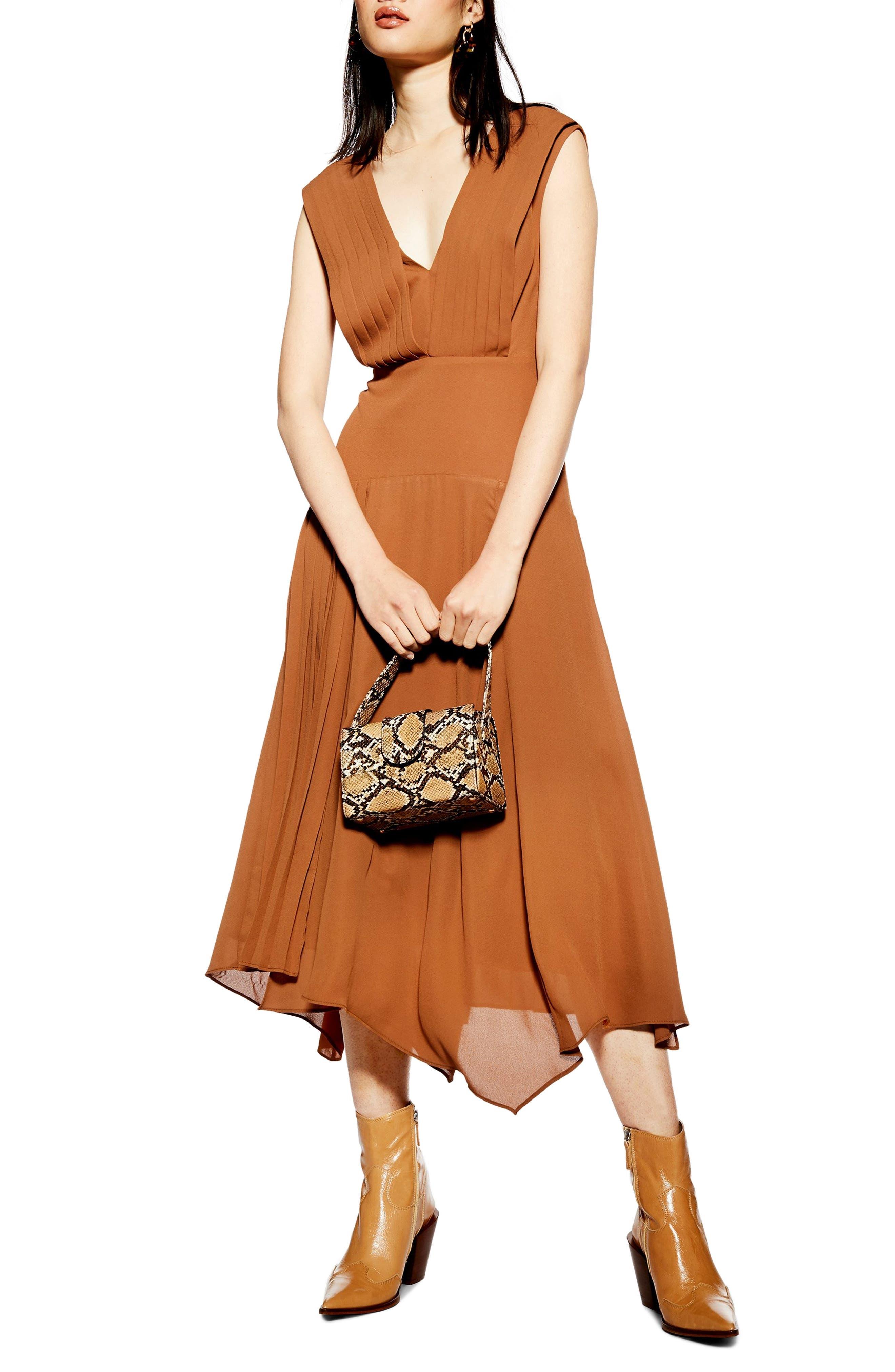 Topshop Pleated Pinafore Midi Dress, US (fits like 2-4) - Brown