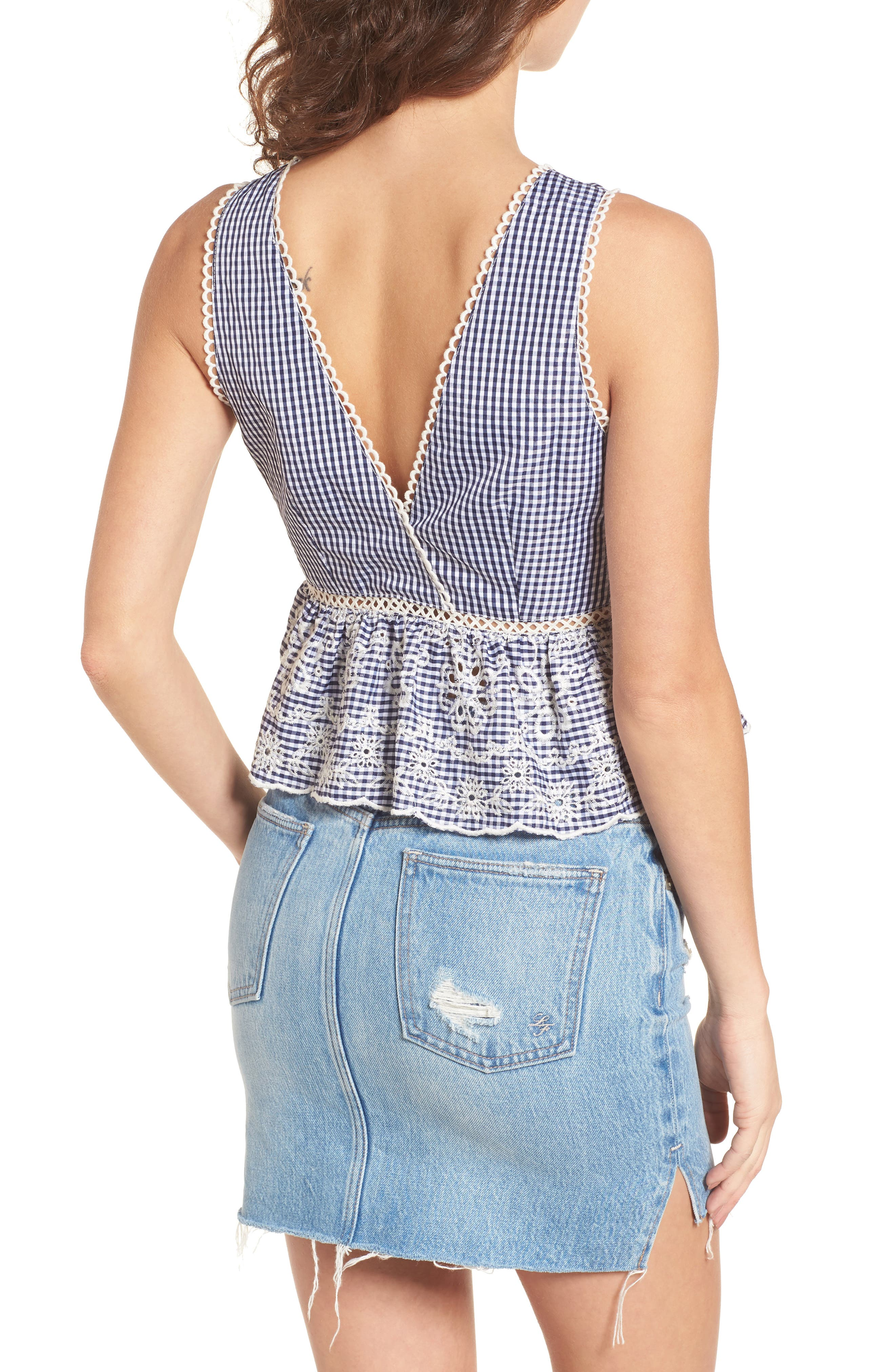 Embroidered Gingham Crop Top,                             Alternate thumbnail 2, color,                             400