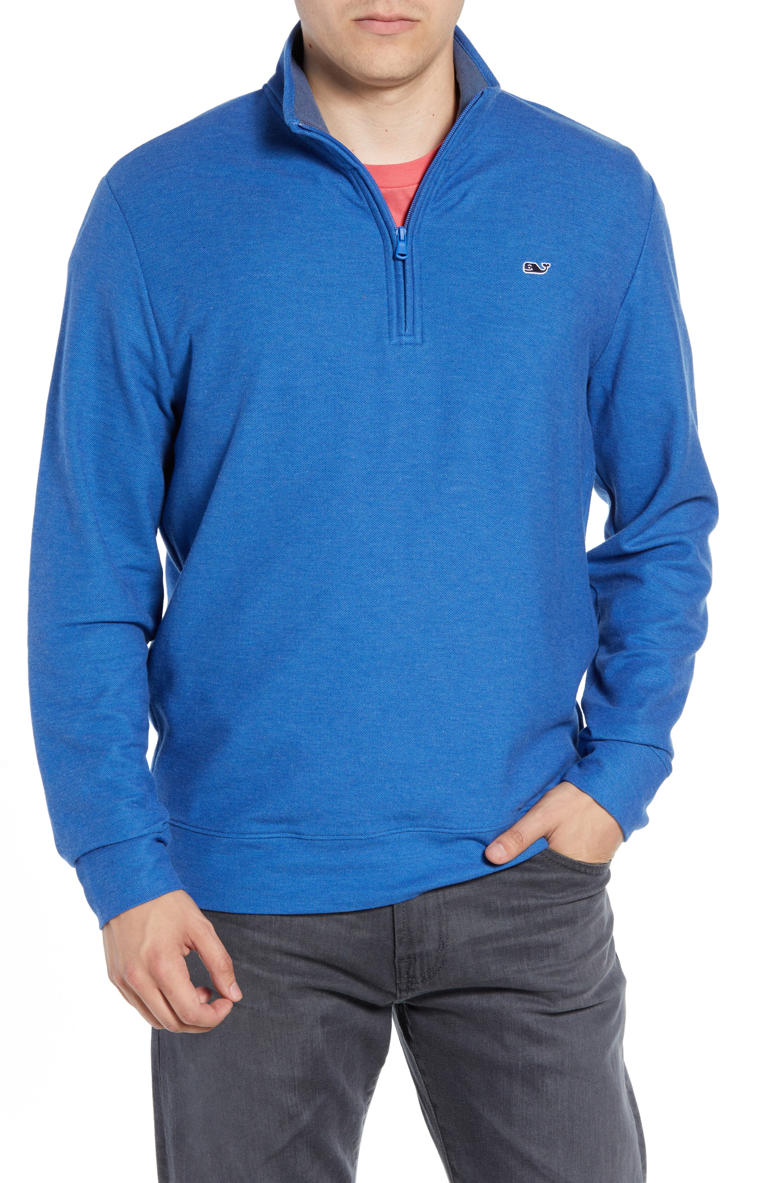 Breaker Saltwater Quarter Zip Pullover,                             Main thumbnail 1, color,                             HULL BLUE
