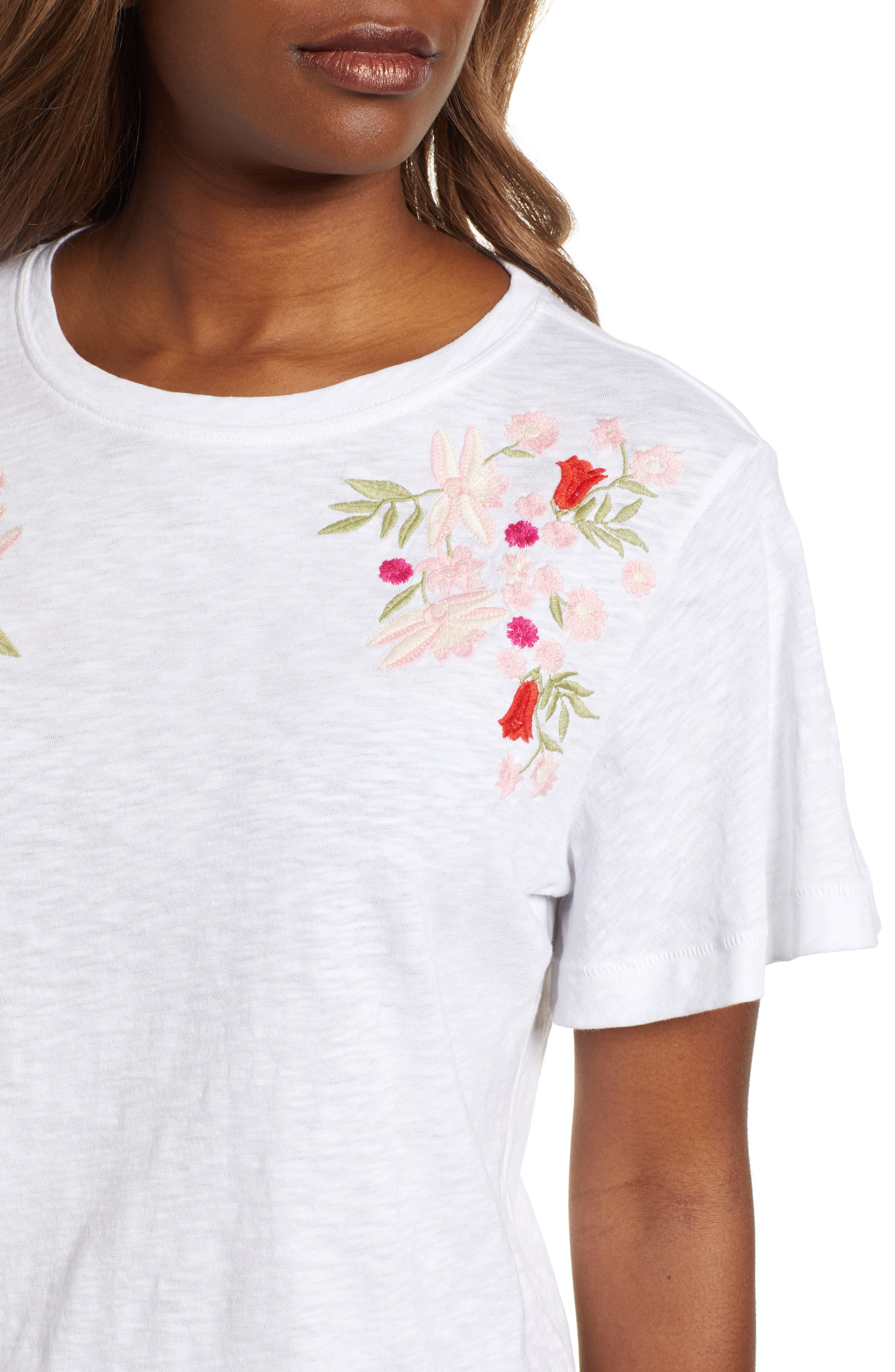 Embroidered Tee,                             Alternate thumbnail 4, color,                             101