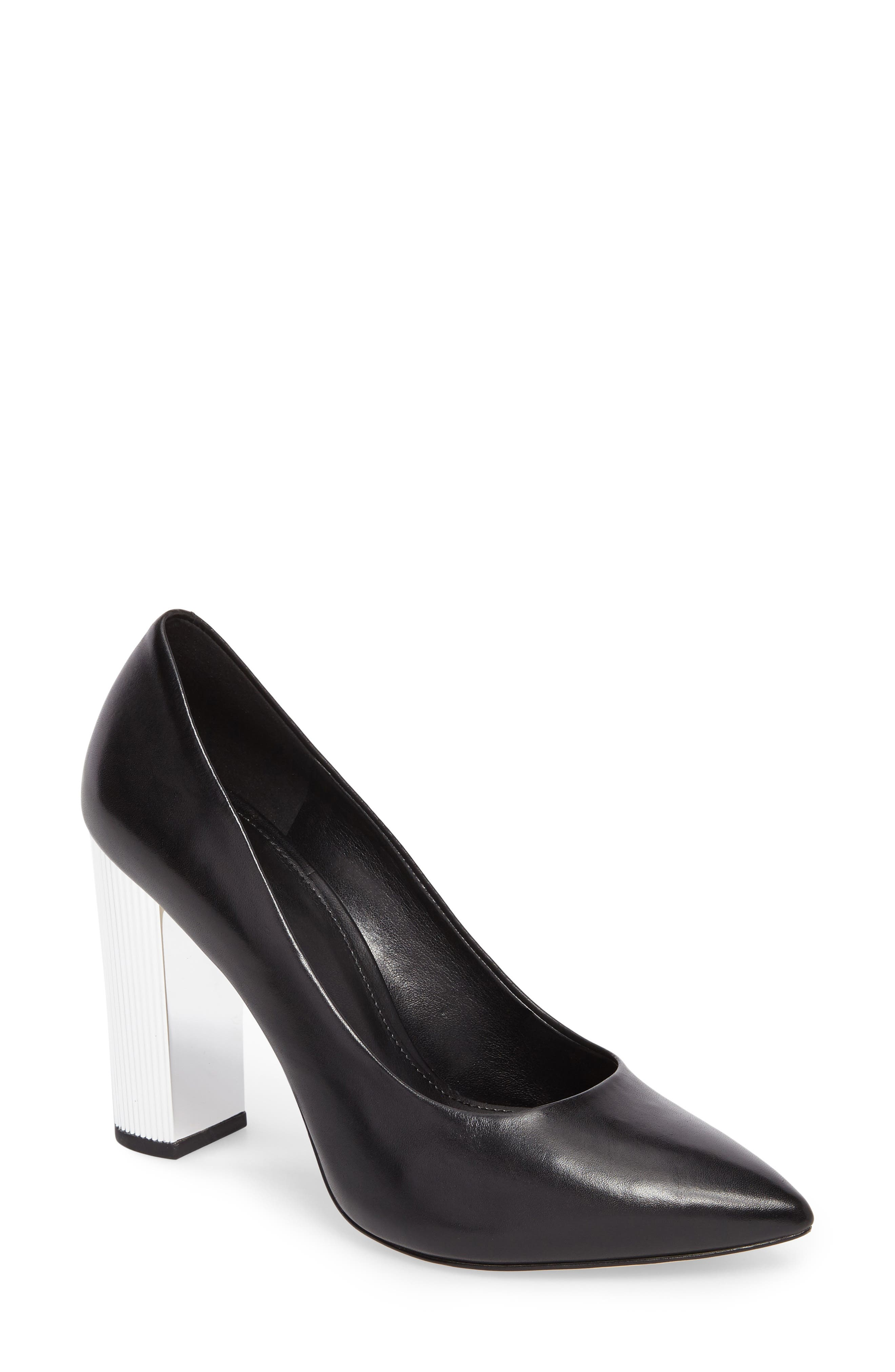 Paloma Metallic Heel Pump,                             Main thumbnail 1, color,                             001