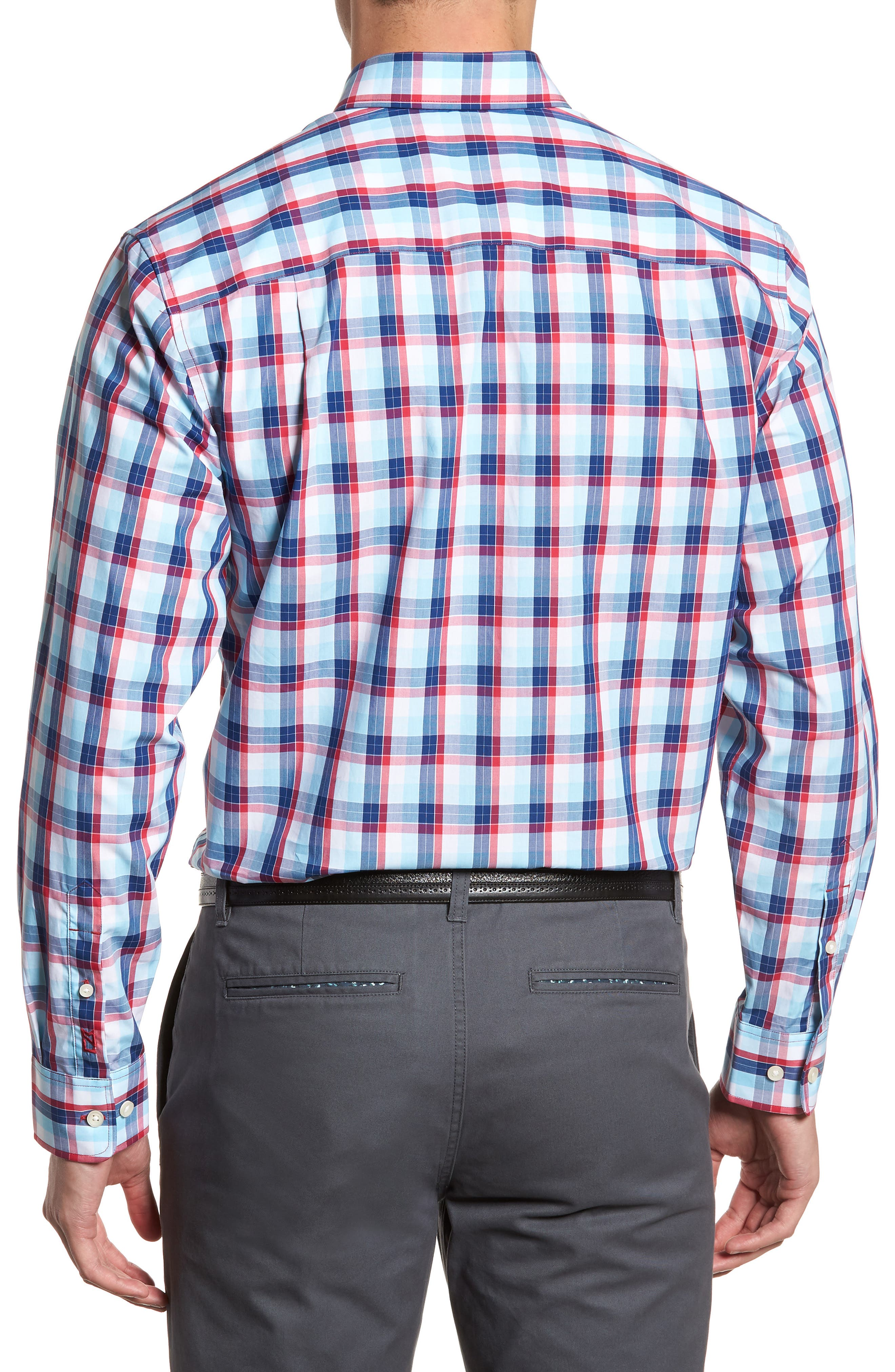 Zachary Non-Iron Plaid Sport Shirt,                             Alternate thumbnail 2, color,                             479