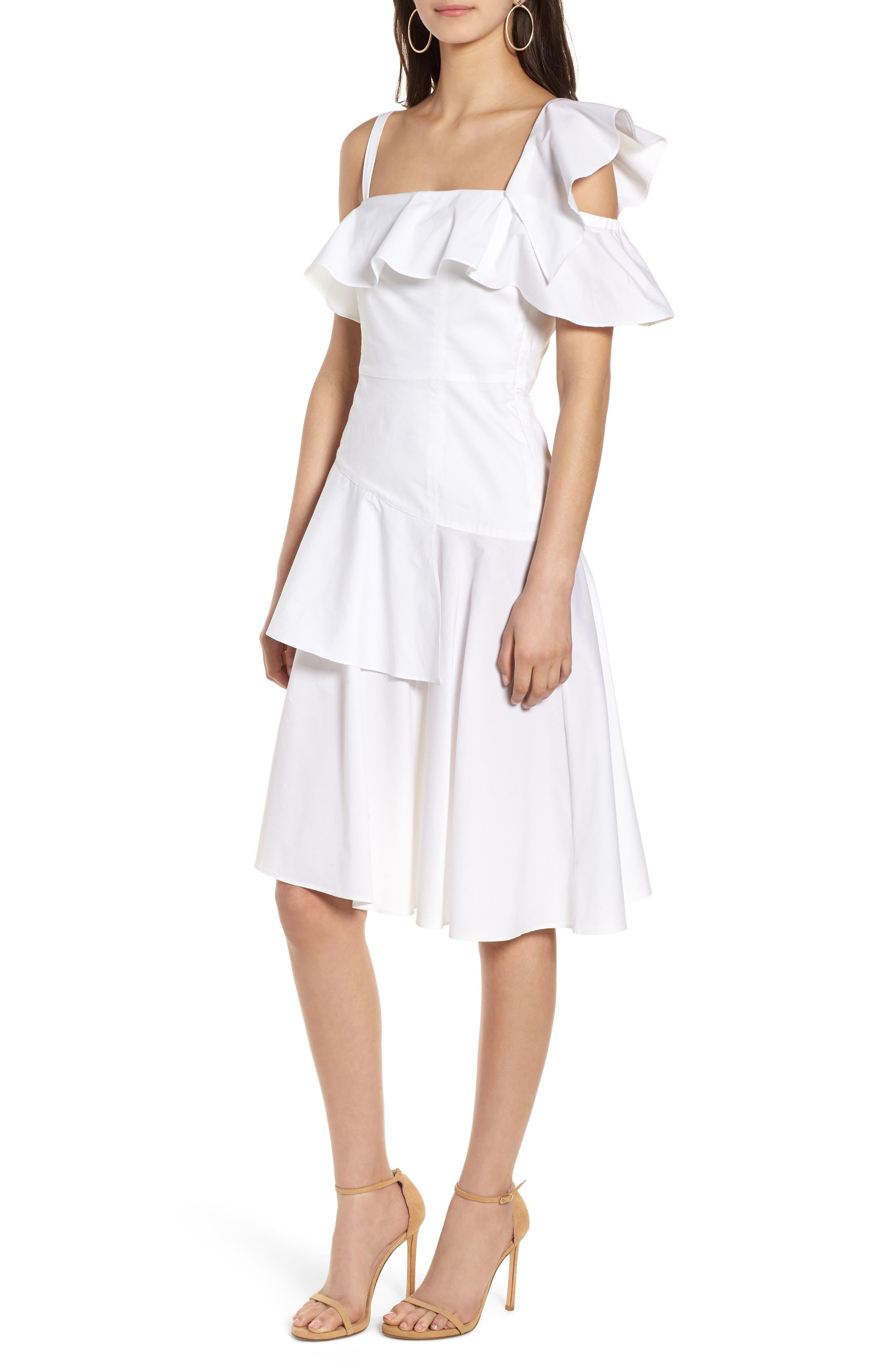 Ruffle One-Shoulder Dress,                             Main thumbnail 2, color,