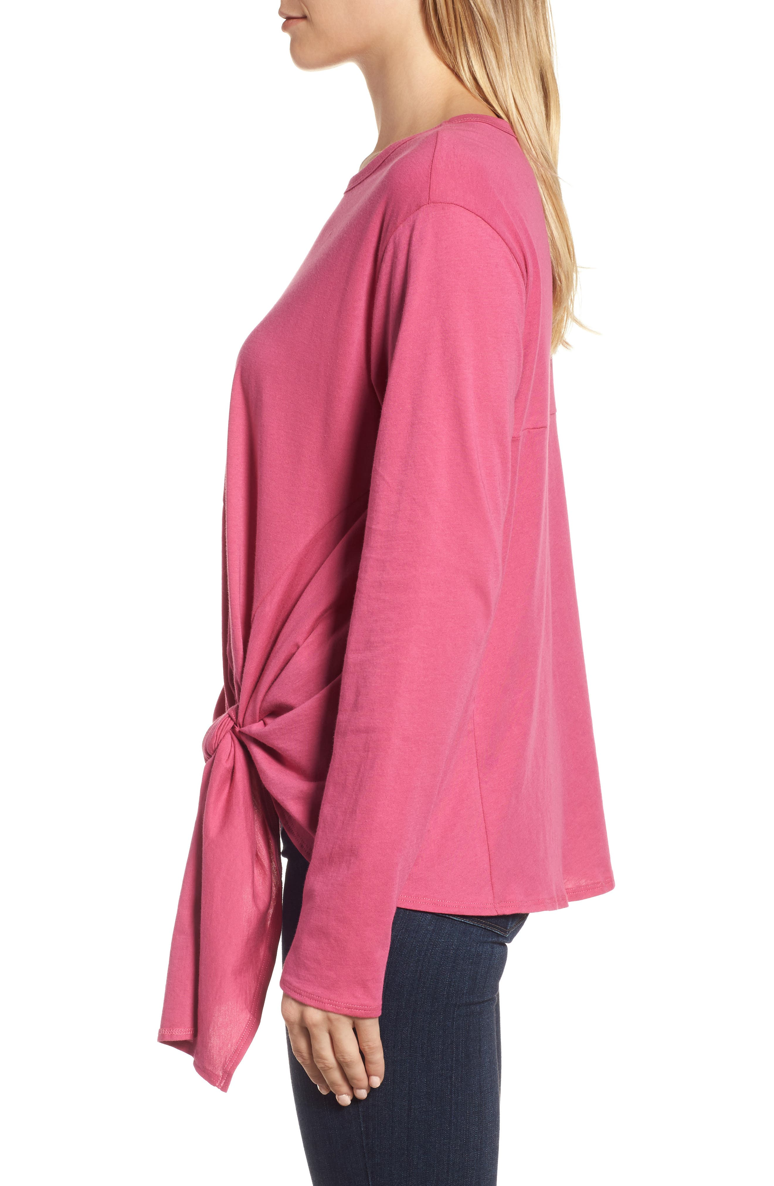 Long Sleeve Side Tie Tee,                             Alternate thumbnail 18, color,