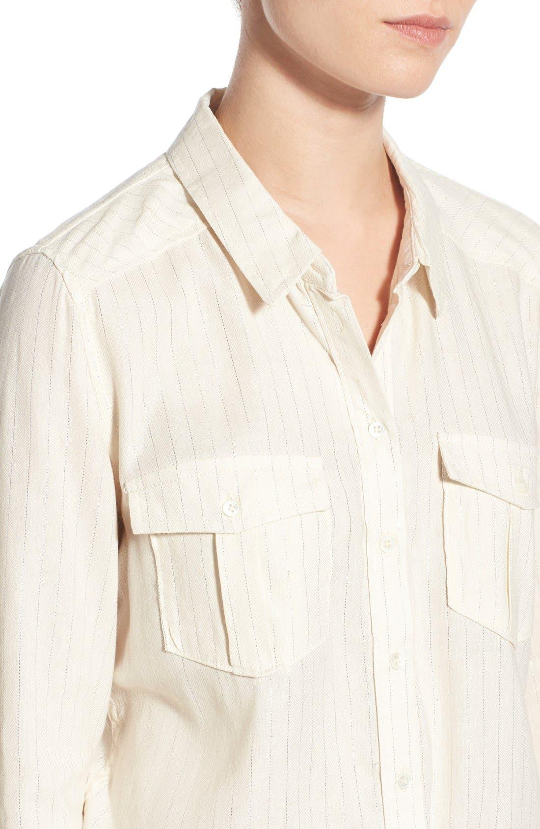 Denim 'Mya' Metallic Stripe Shirt,                             Alternate thumbnail 4, color,                             100