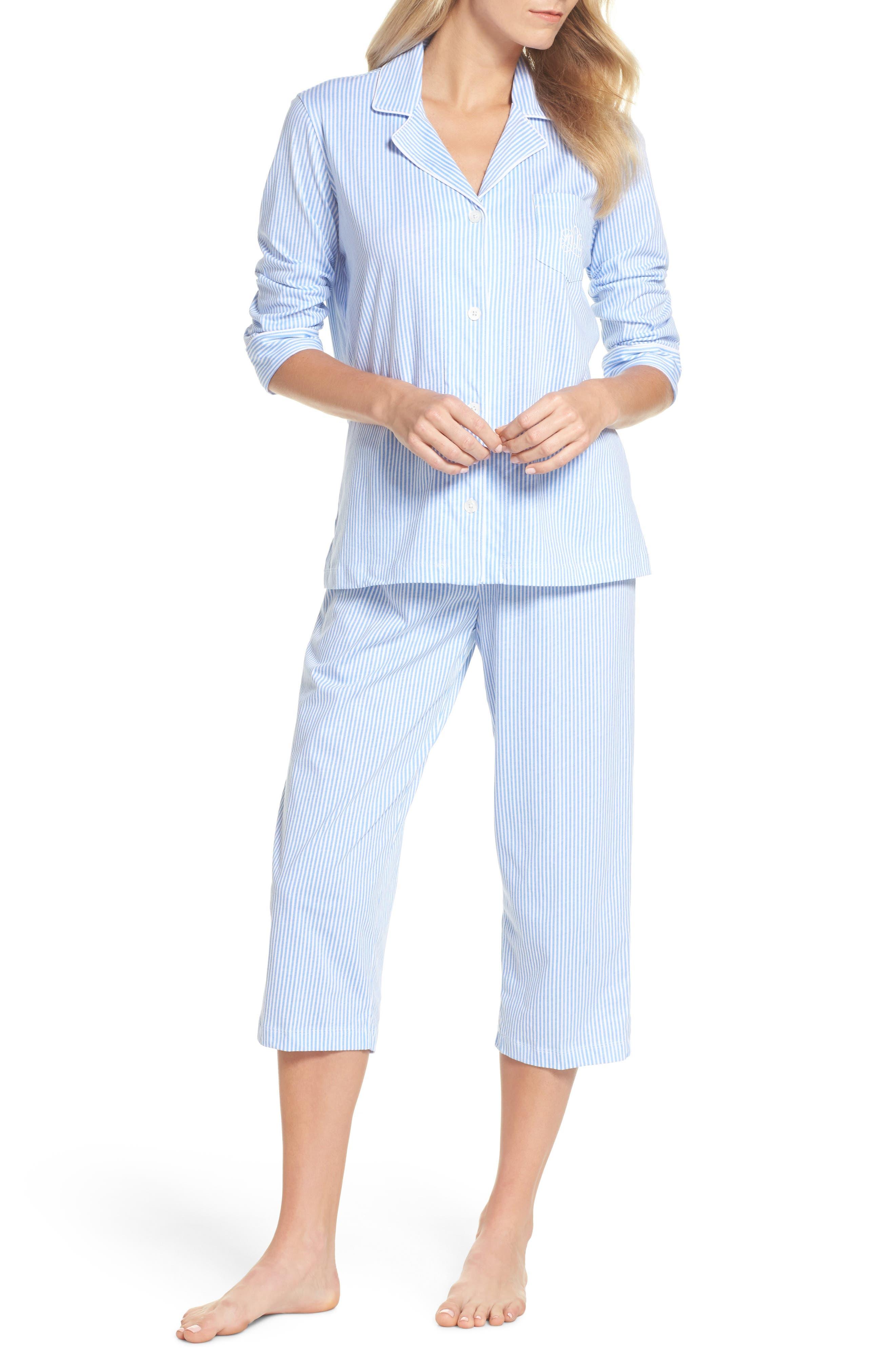 Lauren Ralph Lauren Knit Crop Pajamas, Blue (Online Only)