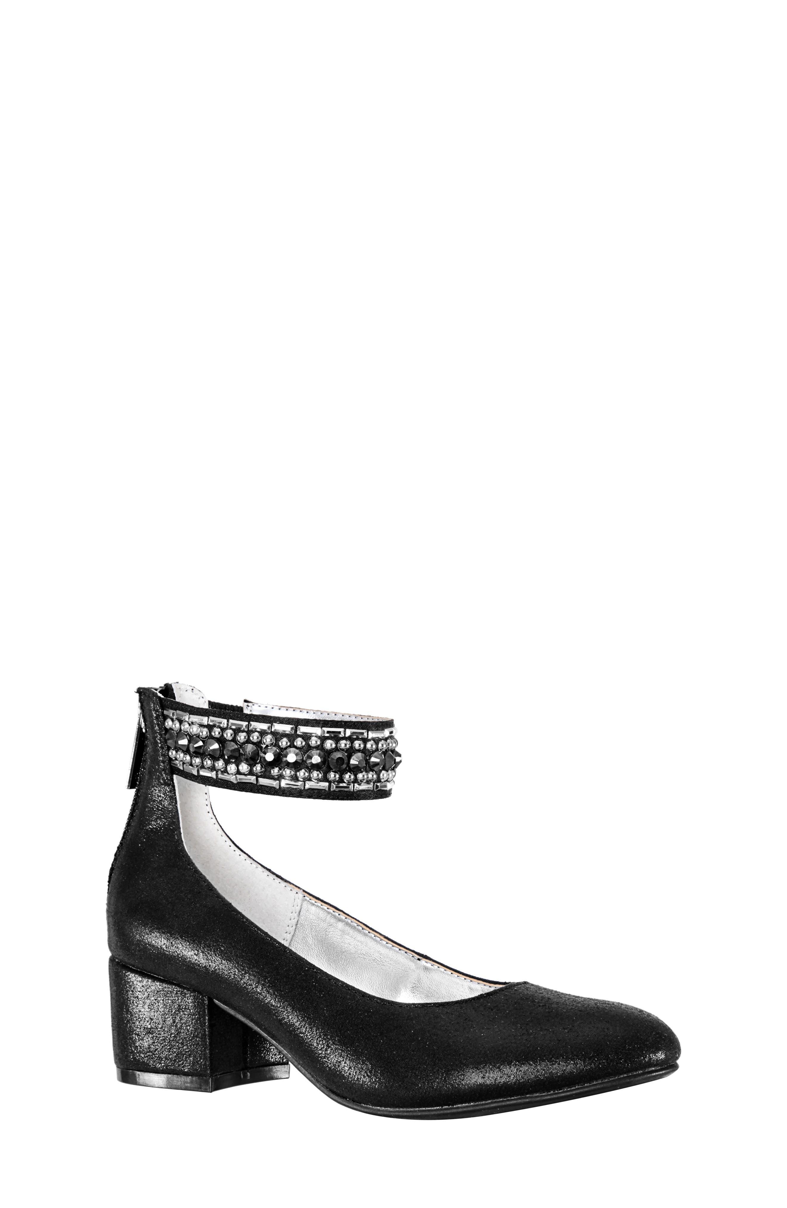 Charleen Ankle Strap Pump,                             Main thumbnail 1, color,                             BLACK SHIMMER FABRIC