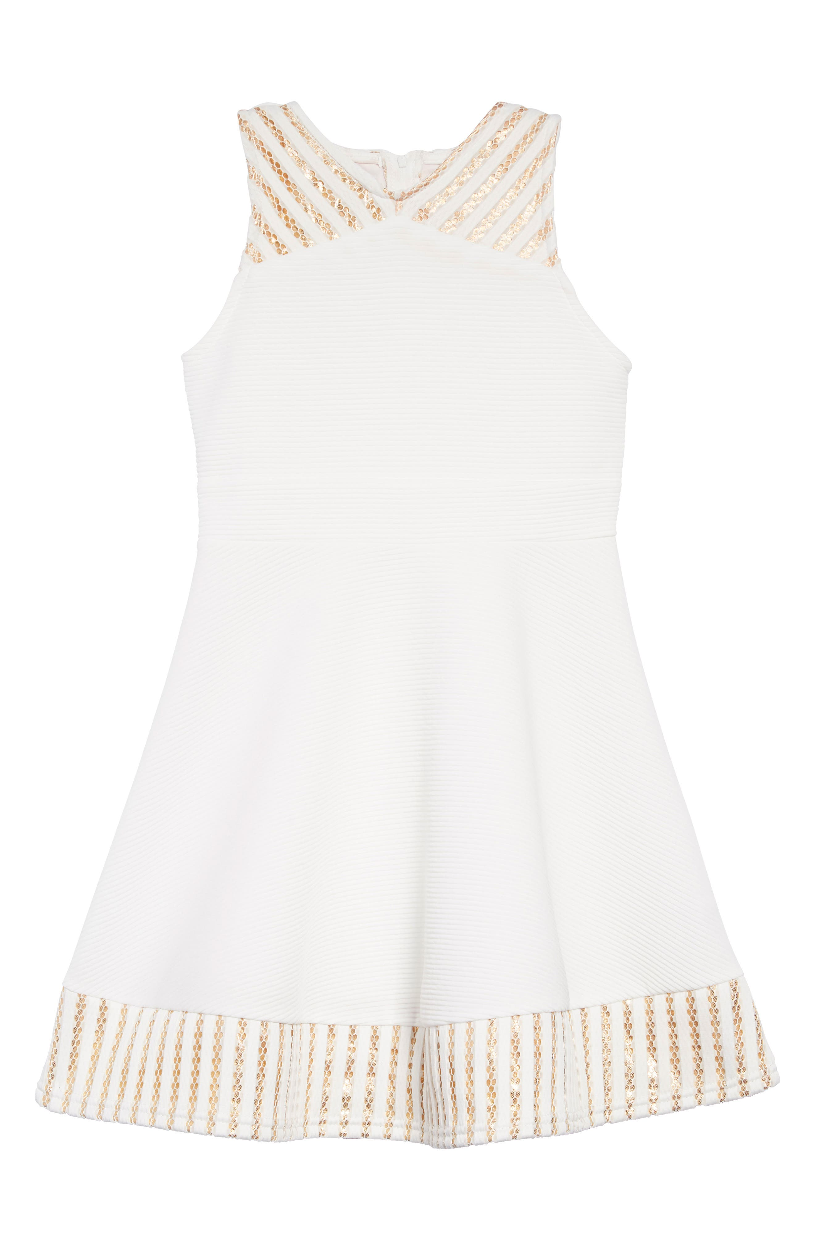 Metallic Trim Ribbed Skater Dress, Main, color, WHITE/GOLD