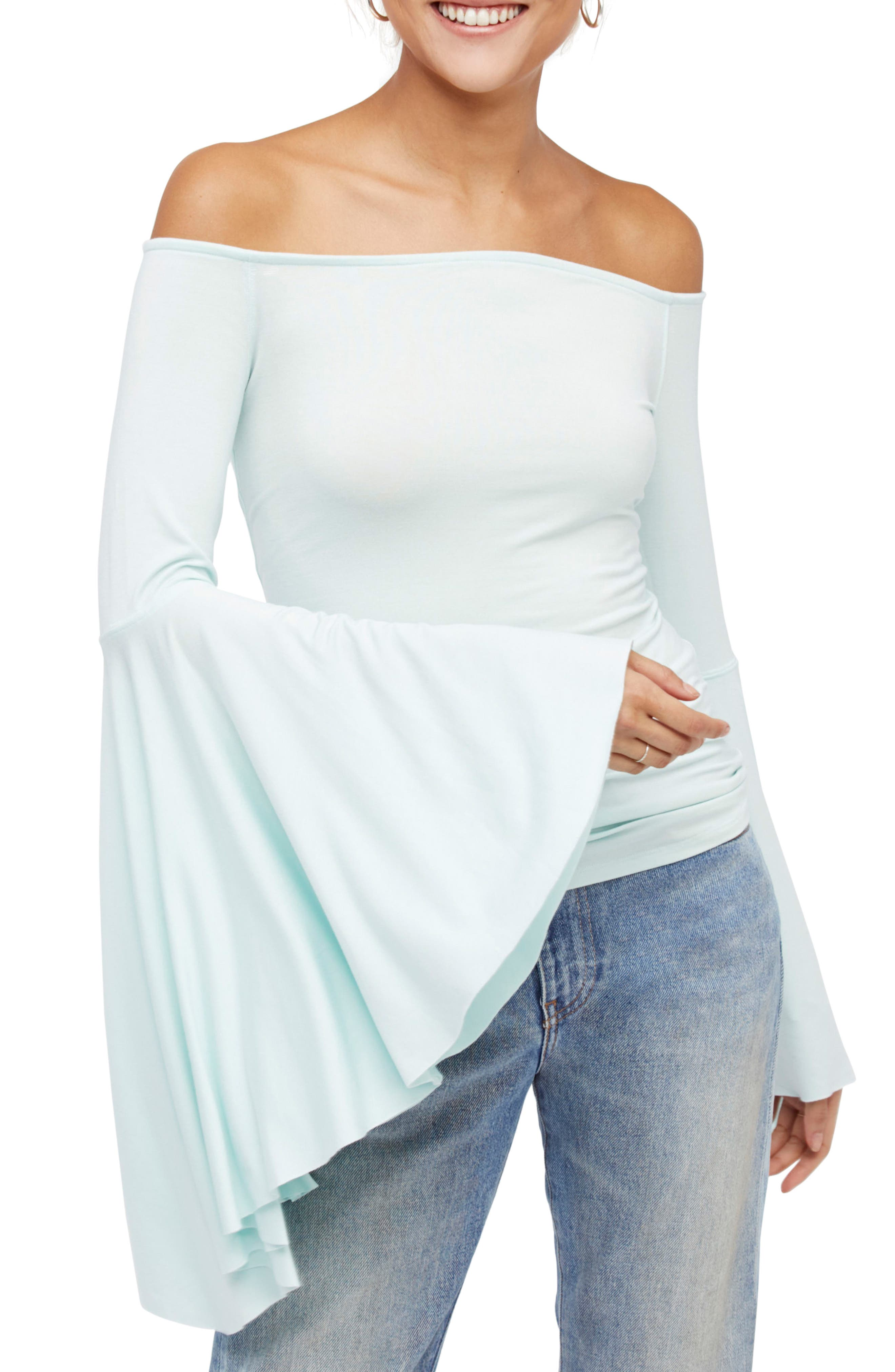 Birds of Paradise Off the Shoulder Top,                             Main thumbnail 3, color,