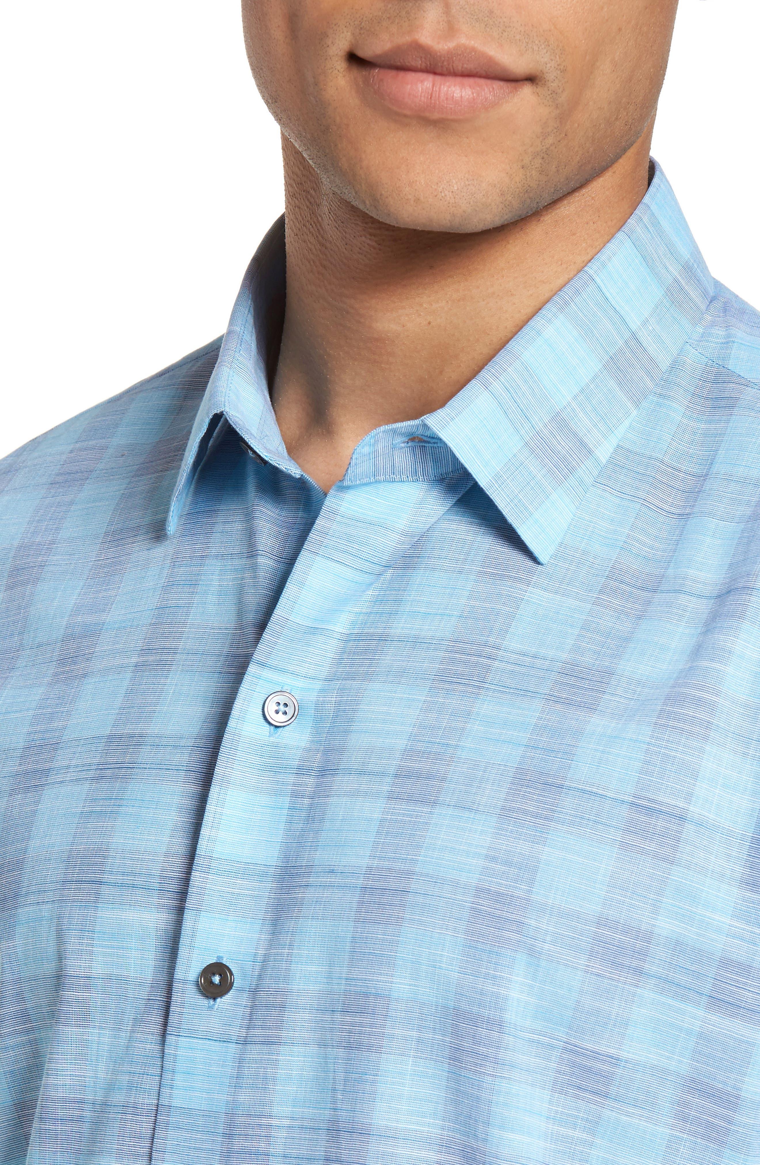 Colin Trim FIt Plaid Sport Shirt,                             Alternate thumbnail 4, color,
