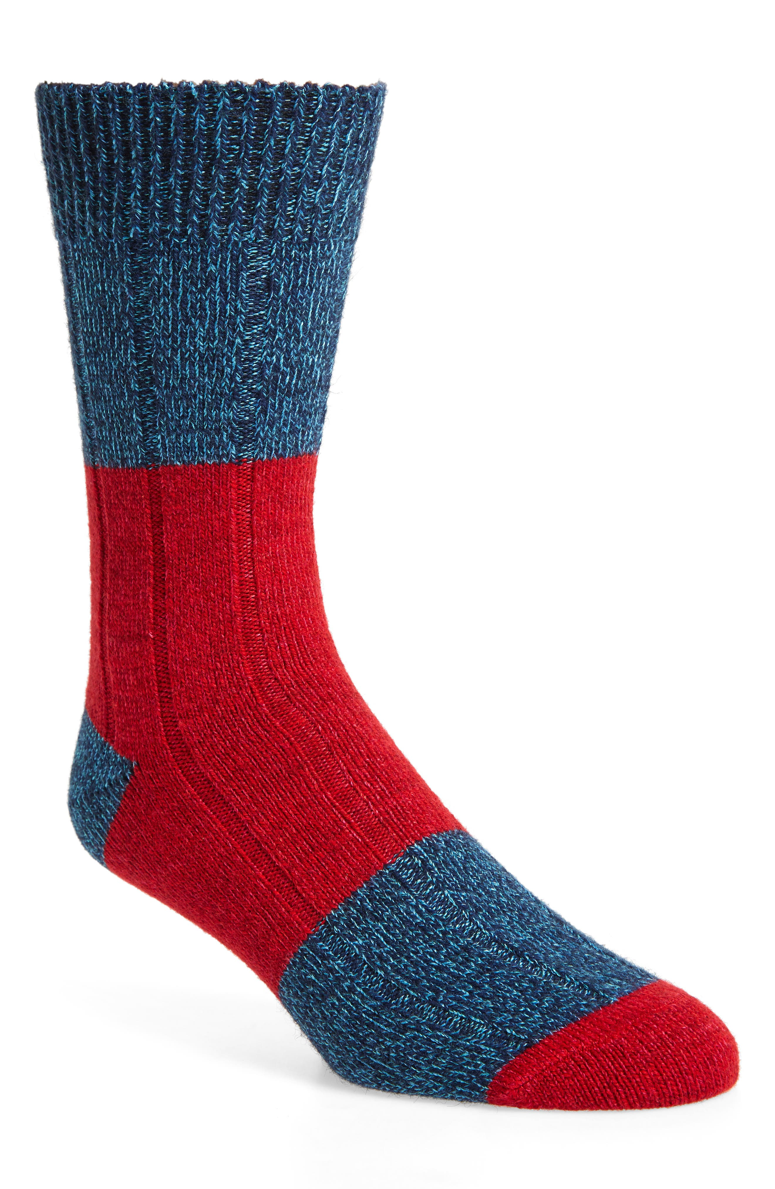 HAPPY SOCKS Thick Colorblock Socks in Red/ Blue