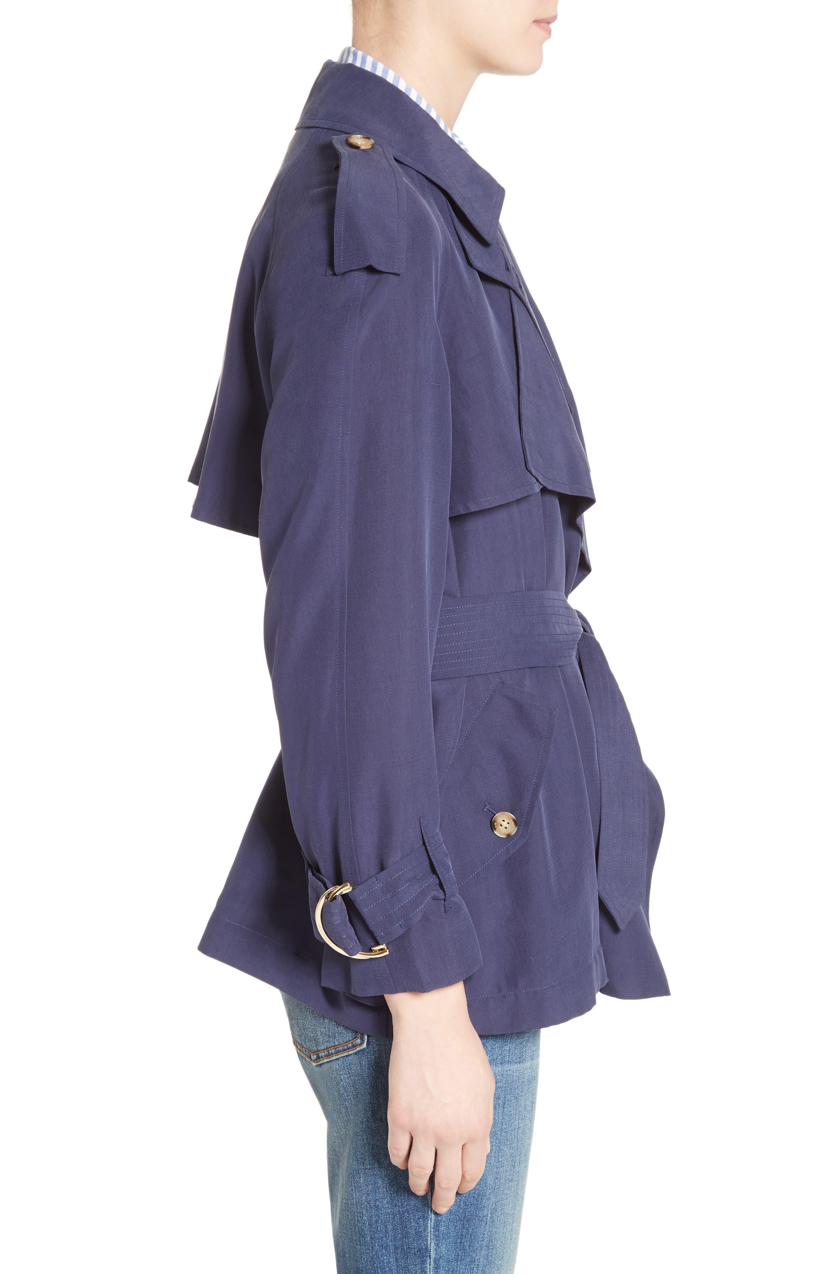 Sanbridge Silk Wrap Coat,                             Alternate thumbnail 3, color,                             410