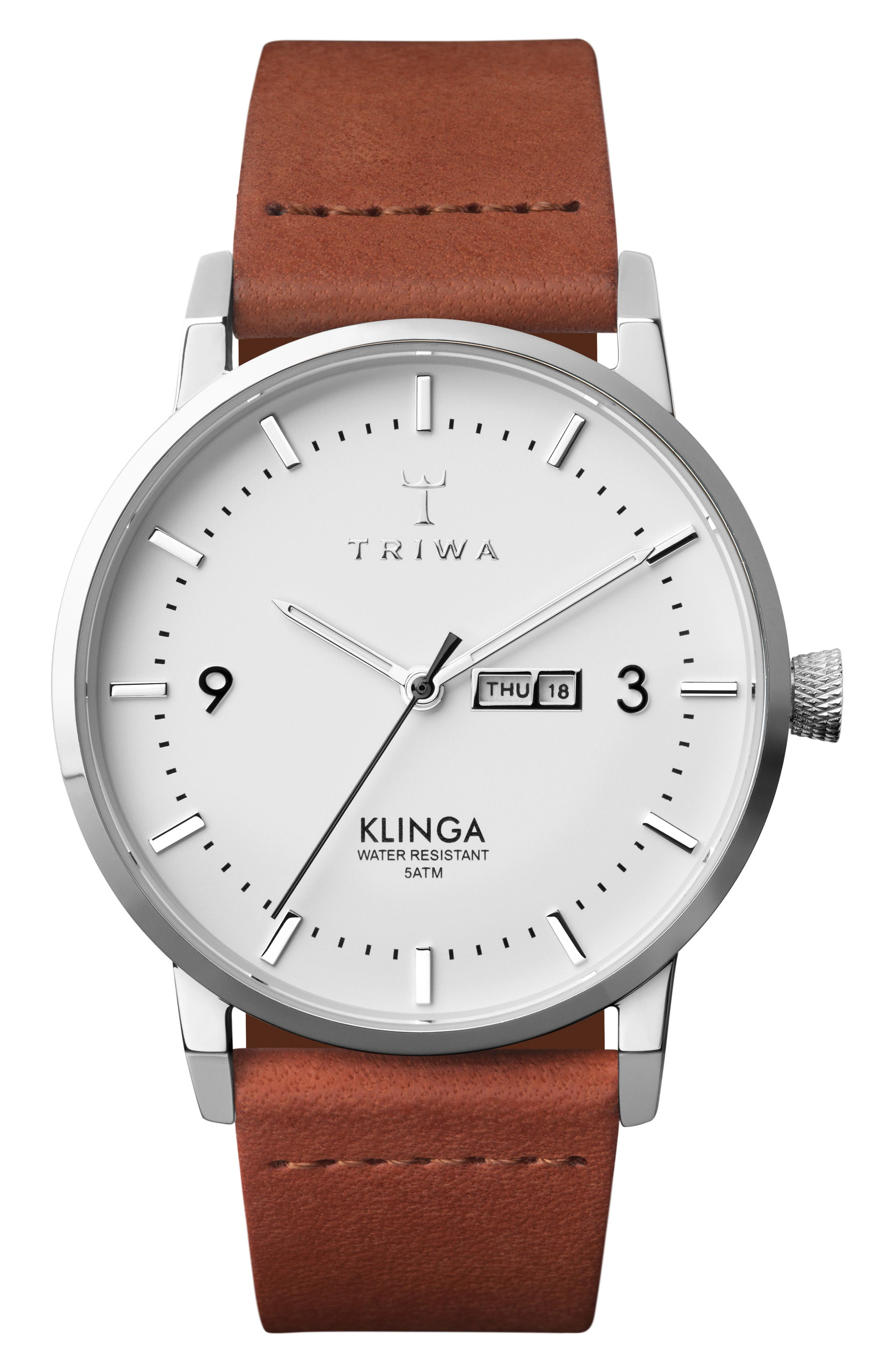 Snow Klinga Leather Strap Watch, 38mm,                         Main,                         color, BROWN/ WHITE/ SILVER