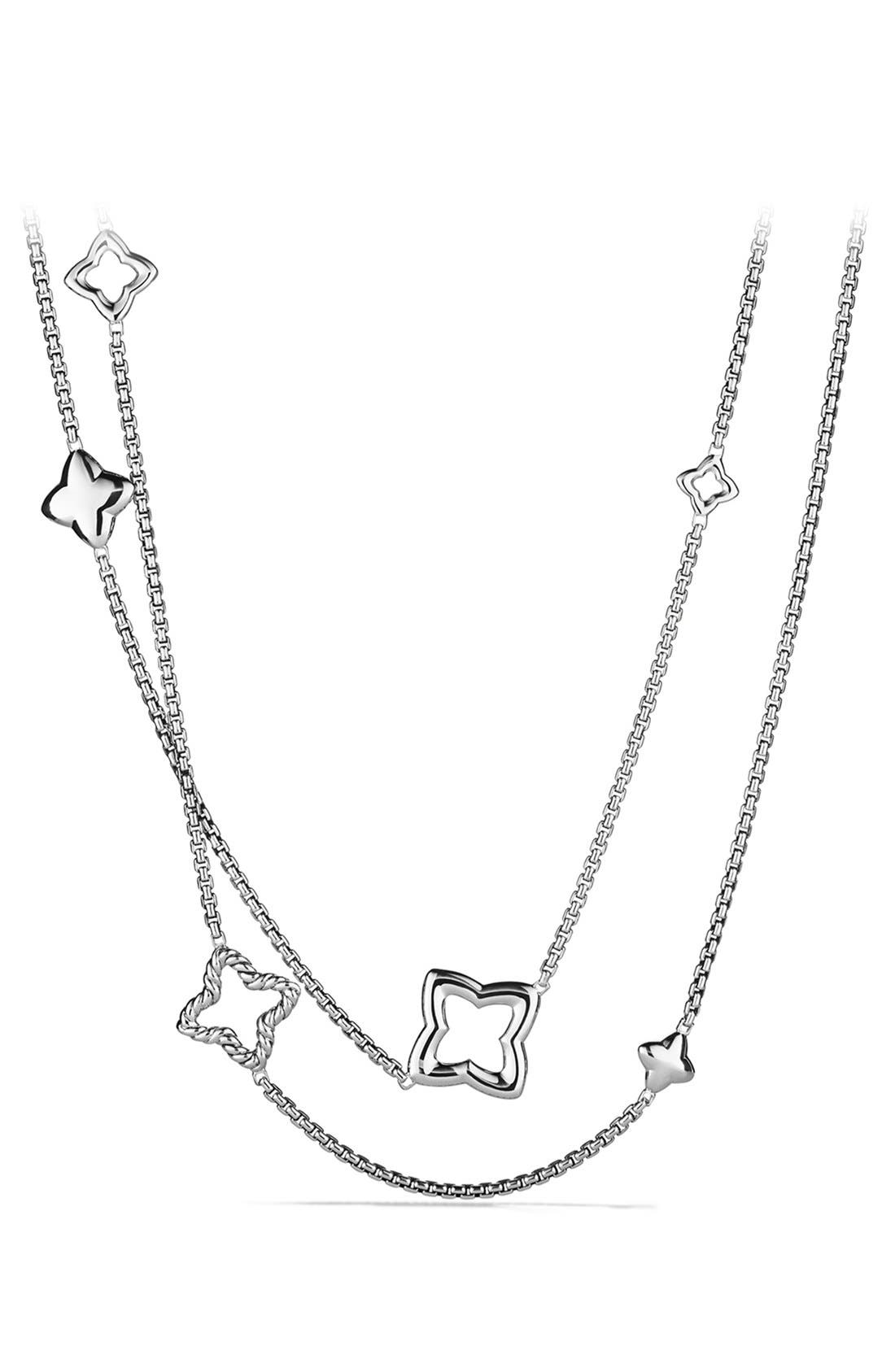 'Quatrefoil' Chain Necklace,                         Main,                         color, SILVER