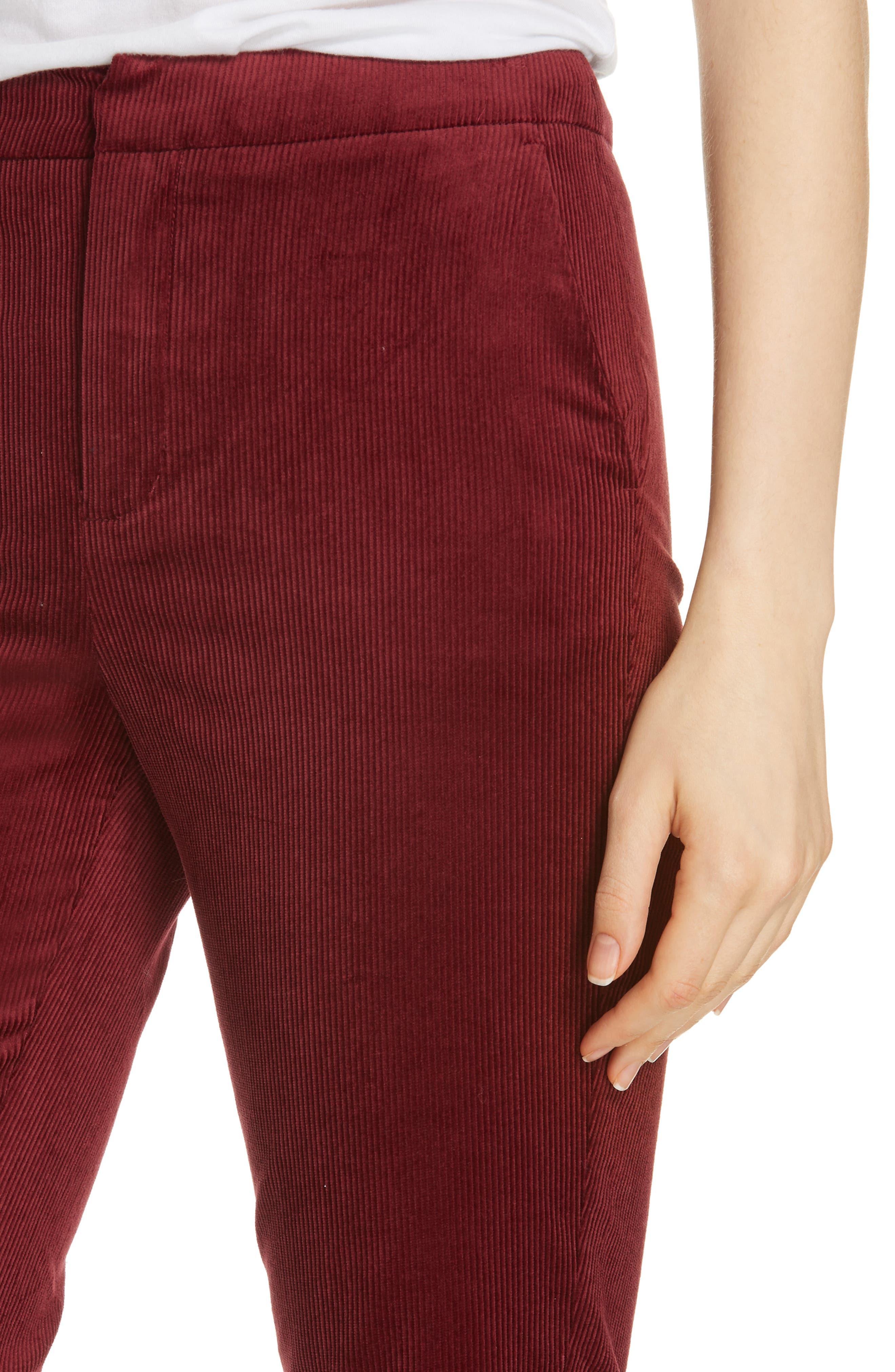 Marcena Velvet Crop Flared Pants,                             Alternate thumbnail 4, color,                             BLACKBERRY