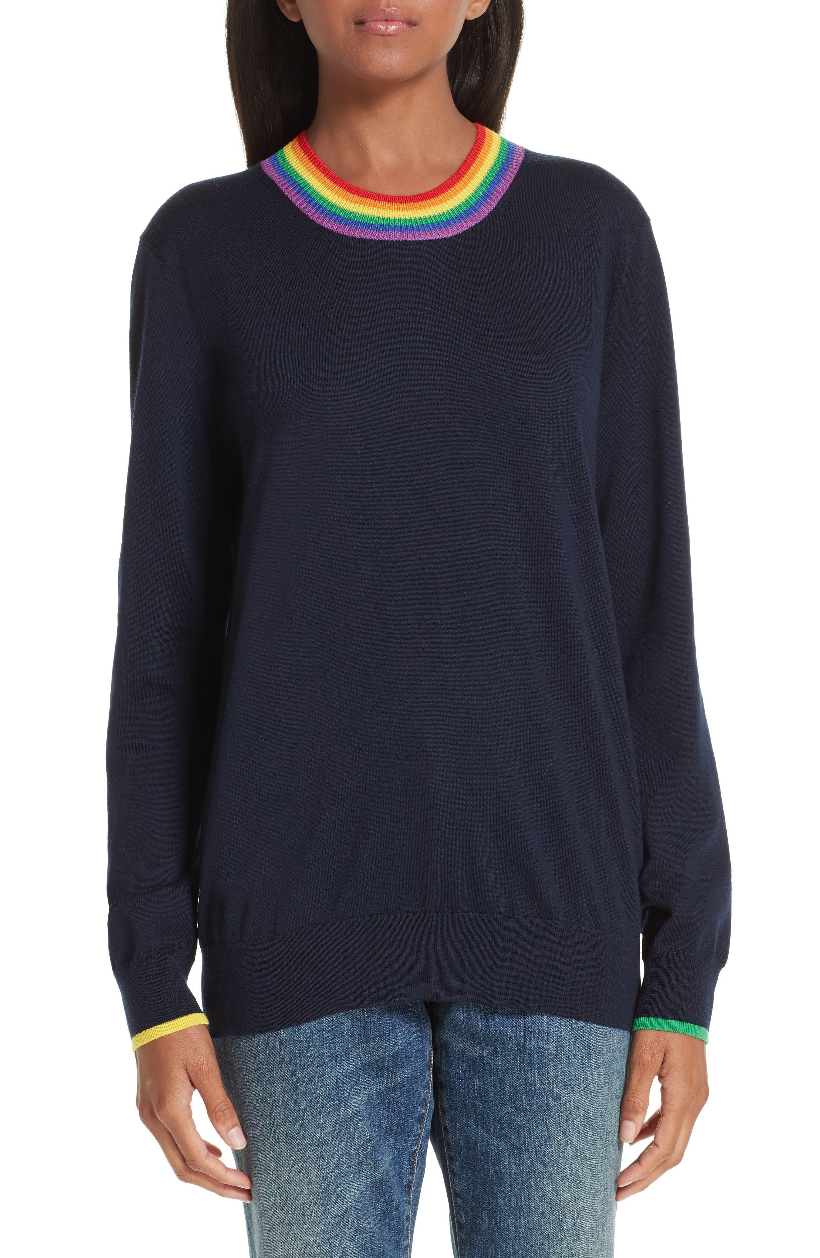 Burberry Dales Rainbow Trim Merino Wool Sweater, Blue