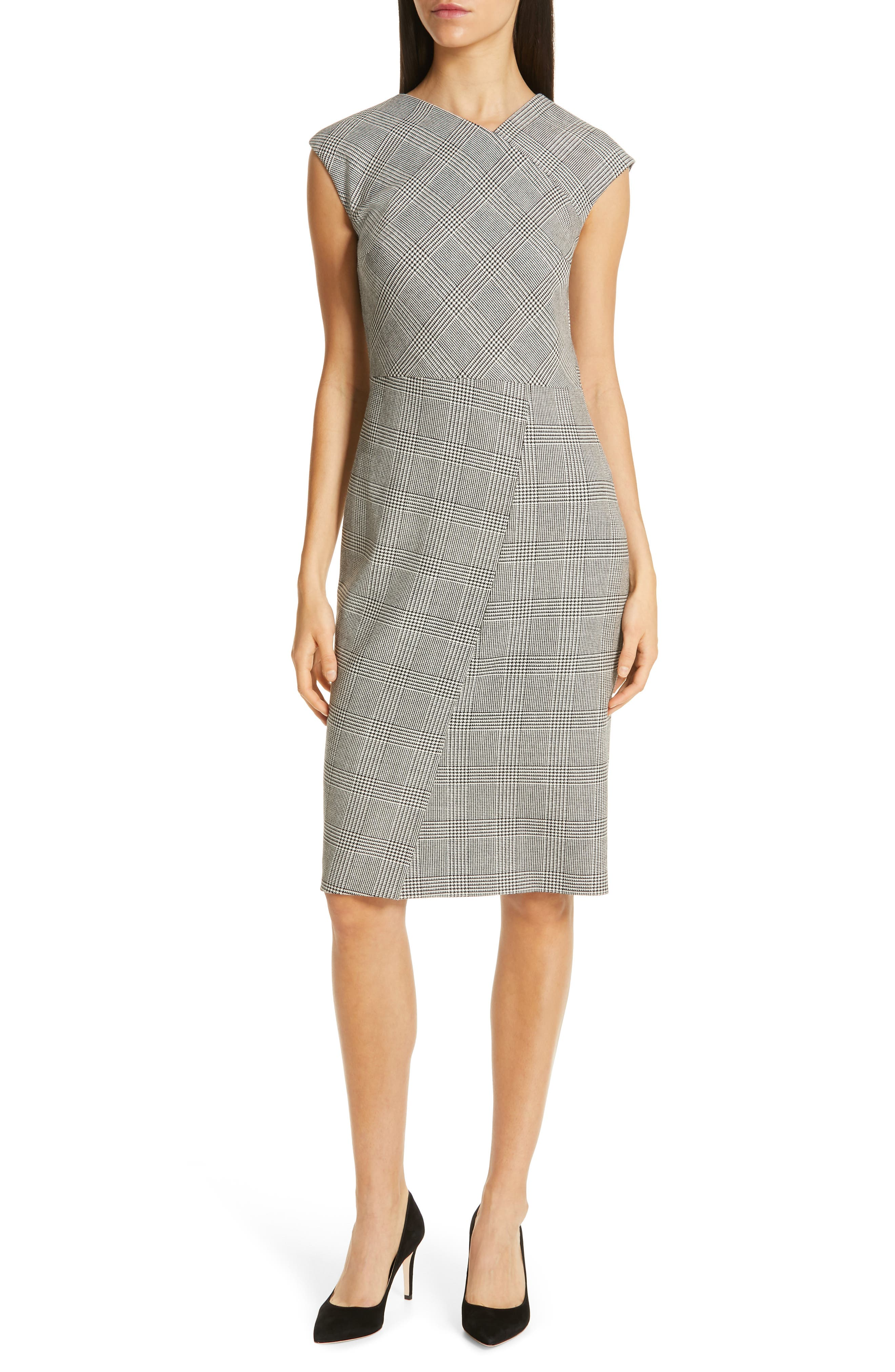 Boss Dechesta Glen Plaid Sheath Dress, Grey