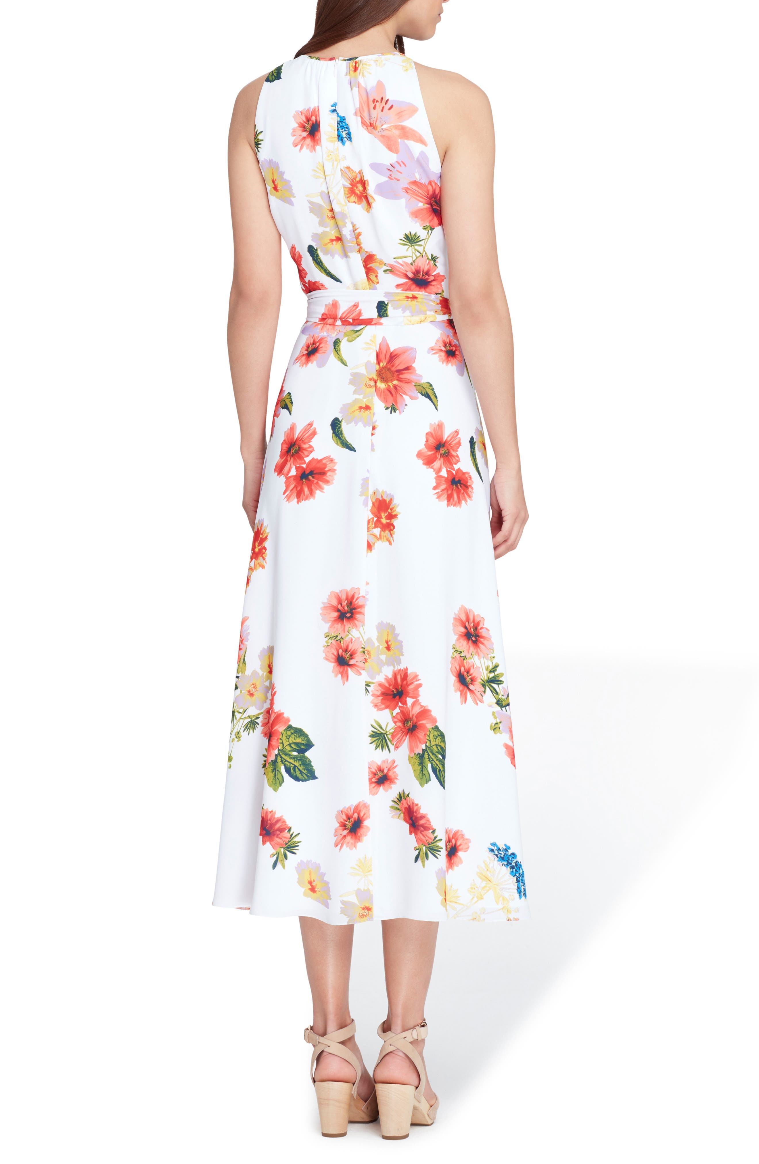 Sleeveless Floral Chiffon Midi Dress,                             Alternate thumbnail 2, color,                             WHITE/ CORAL/ ROYAL