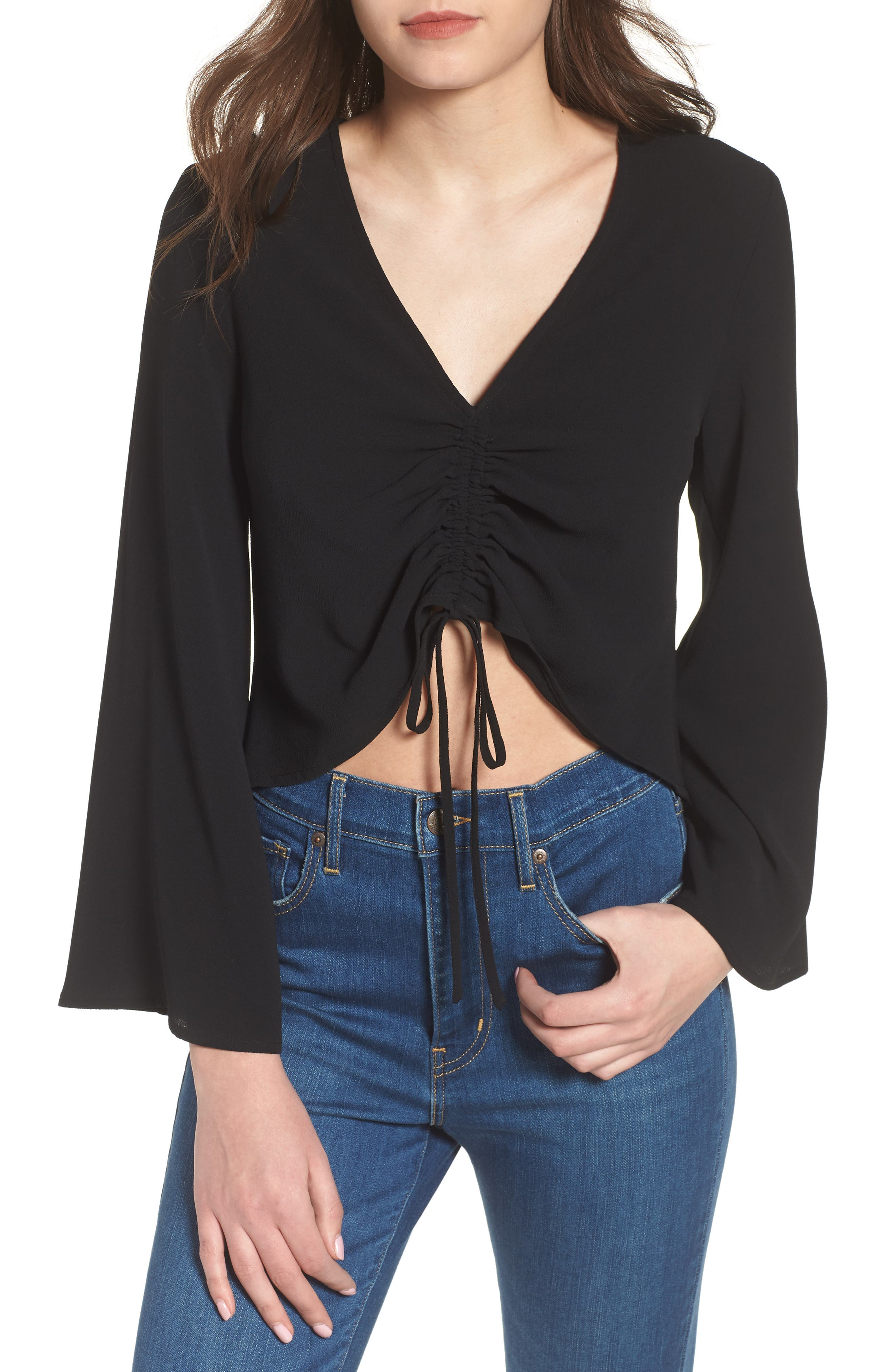 Ruched Front Top,                         Main,                         color, 001