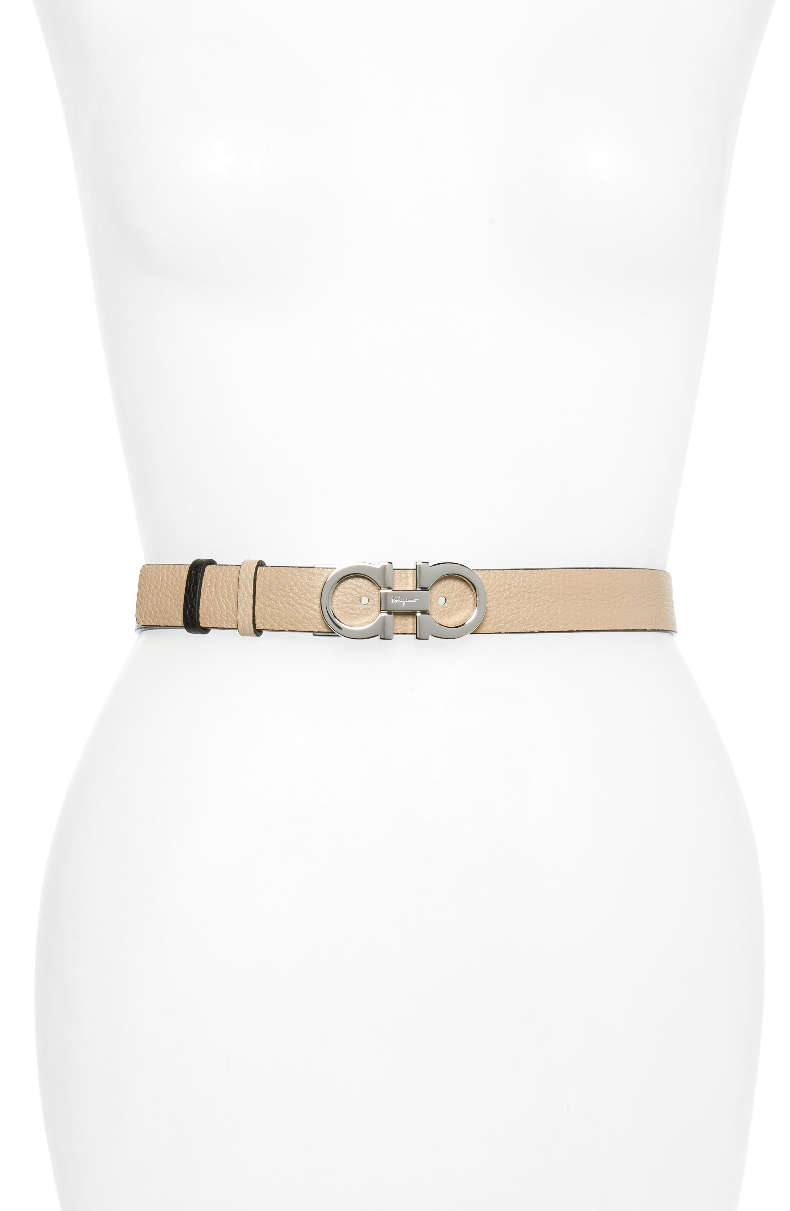 Salvatore Ferragamo Double Gancio Reversible Leather Belt, New Bisque/ Nero