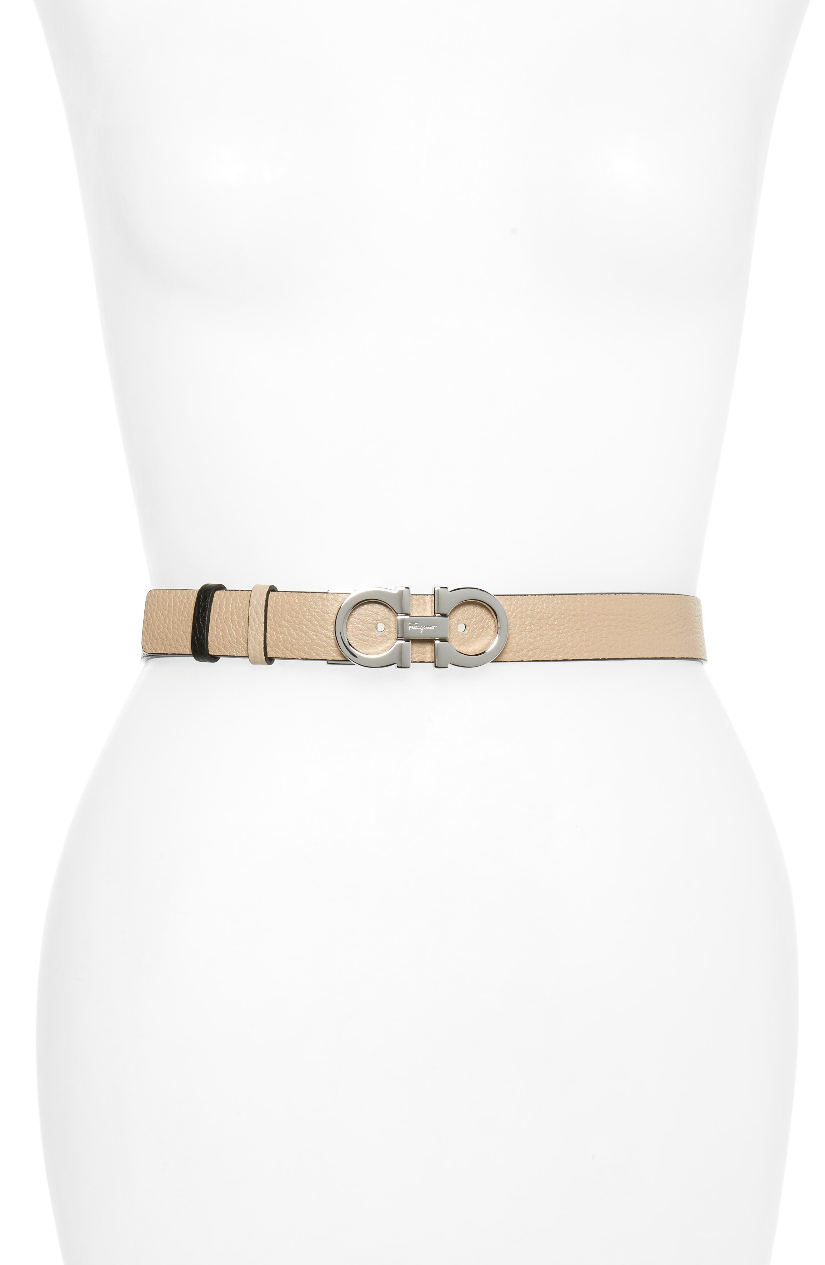 Double Gancio Reversible Leather Belt,                             Main thumbnail 1, color,                             NEW BISQUE/ NERO