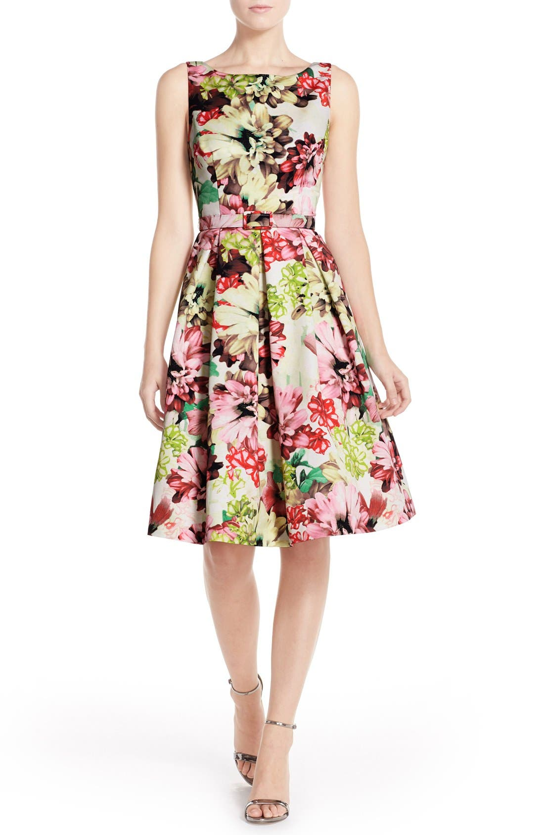 Belted Floral Print Faille Fit & Flare Dress,                             Alternate thumbnail 4, color,                             360