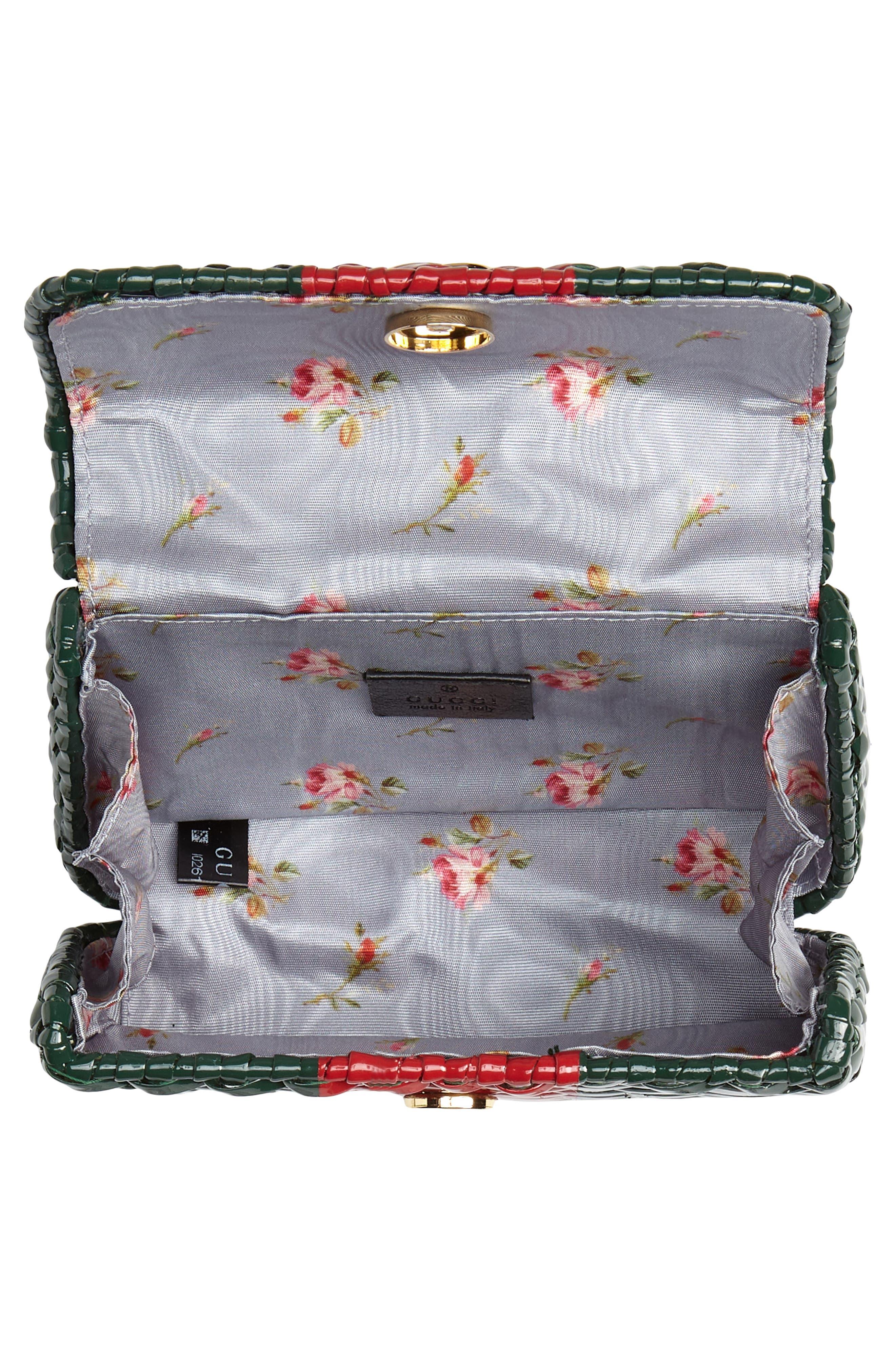 Small Linea Cestino Glazed Wicker Shoulder Bag,                             Alternate thumbnail 4, color,                             VERDE ROSSO VERDE