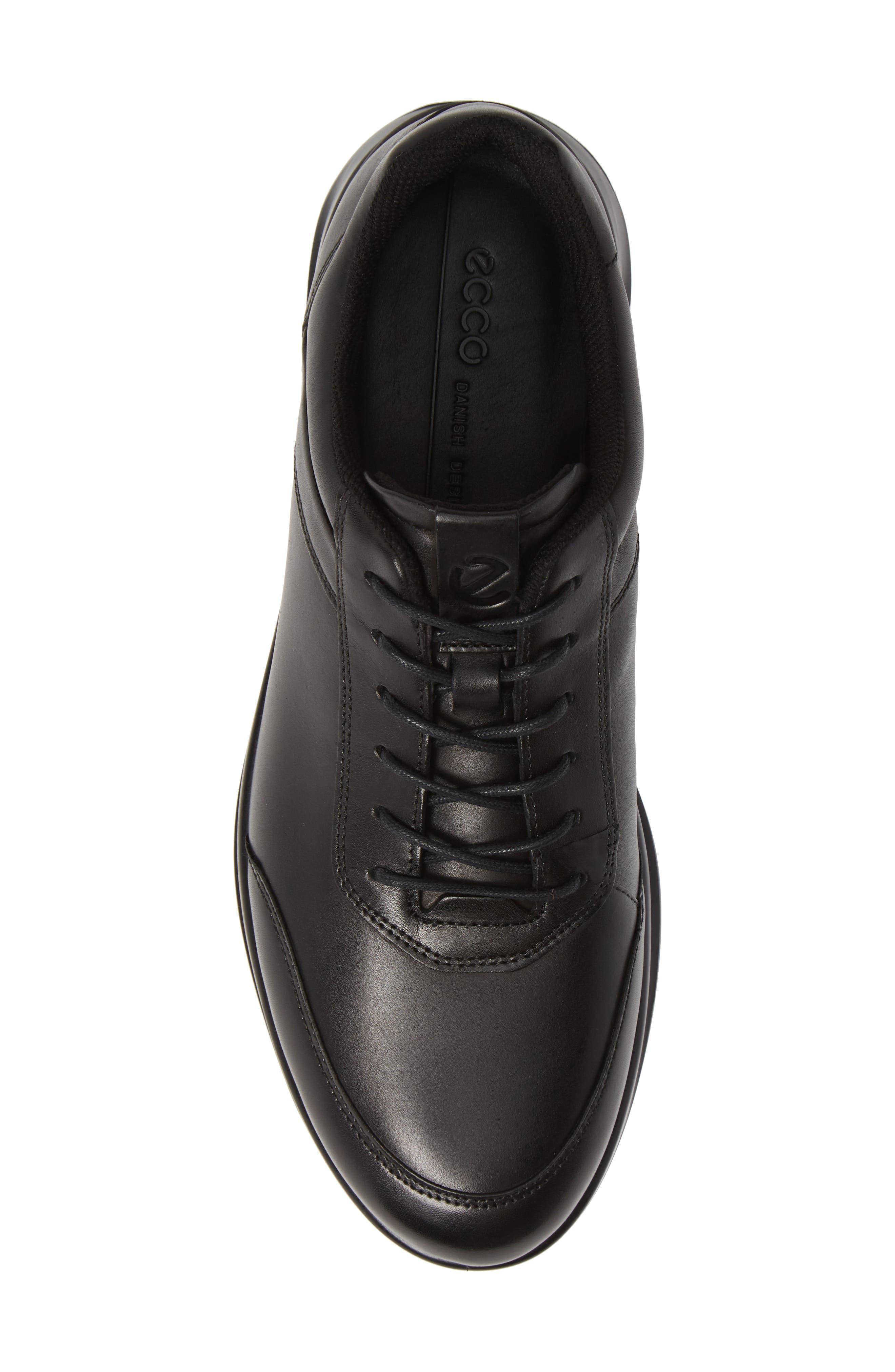 Aquet Low Top Sneaker,                             Alternate thumbnail 5, color,                             BLACK LEATHER