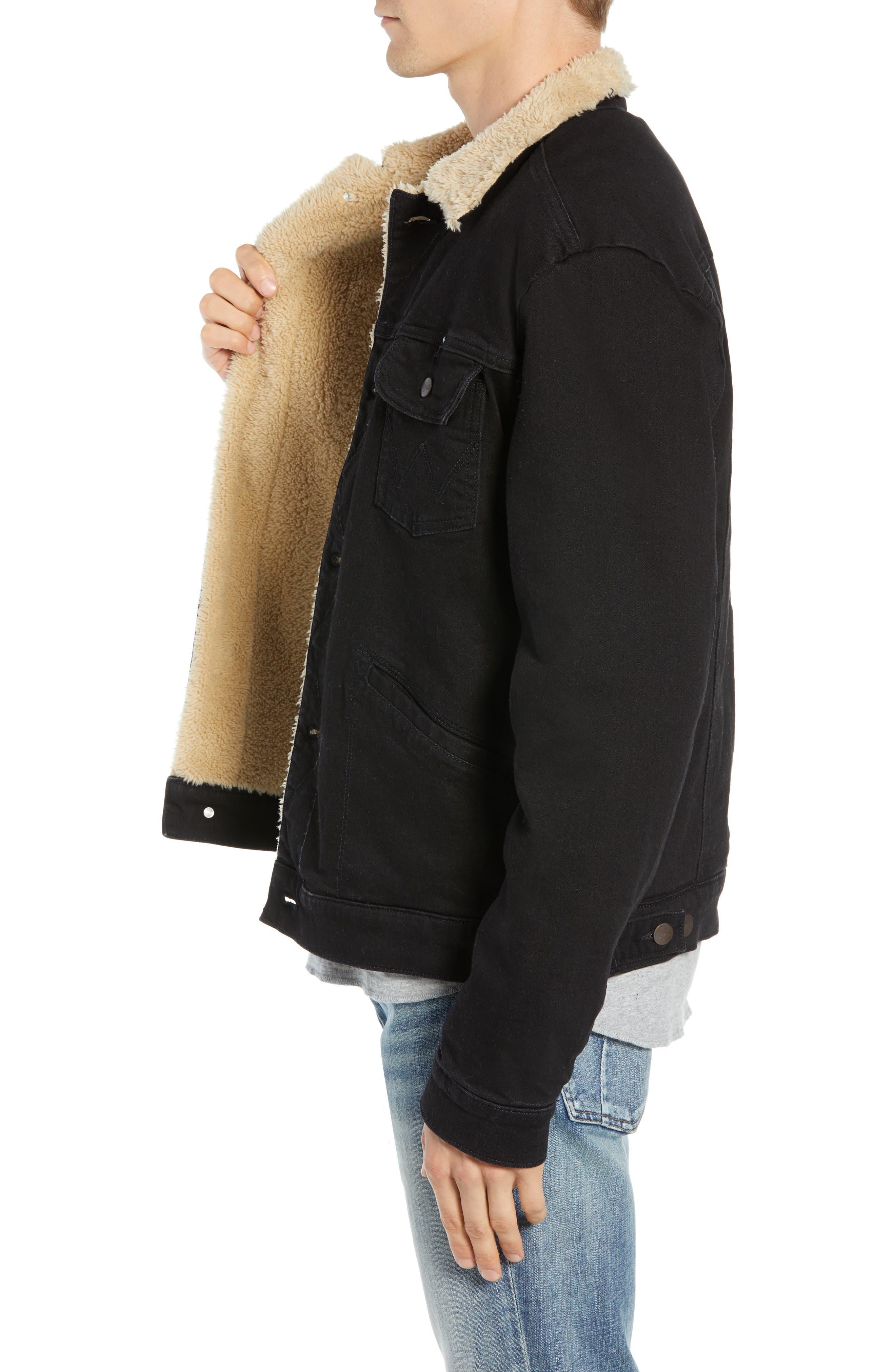 Heritage Fleece Lined Denim Jacket,                             Alternate thumbnail 3, color,                             BLACK
